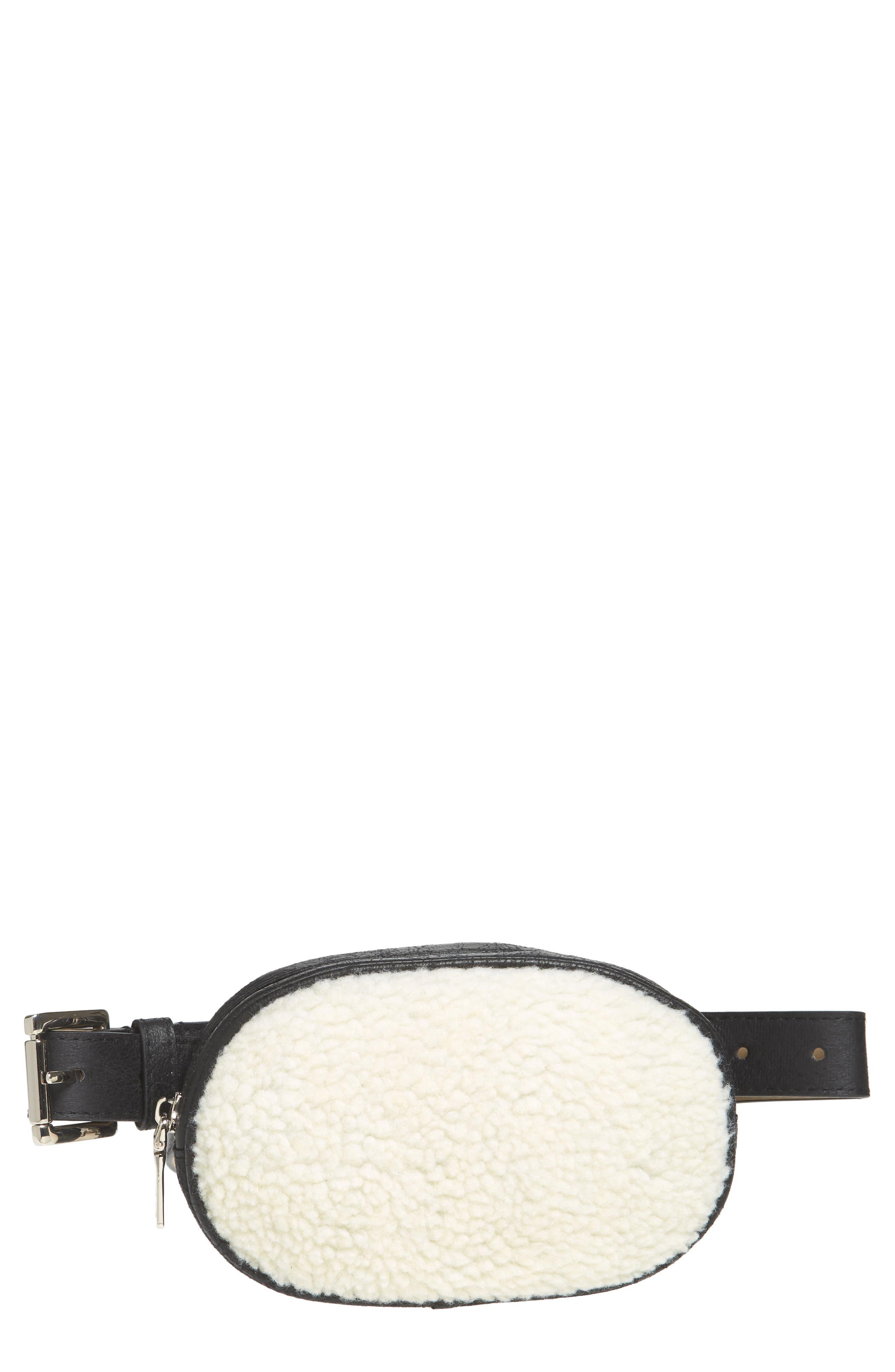 Faux Shearling Belt Bag,                         Main,                         color, BLACK/ NATURAL