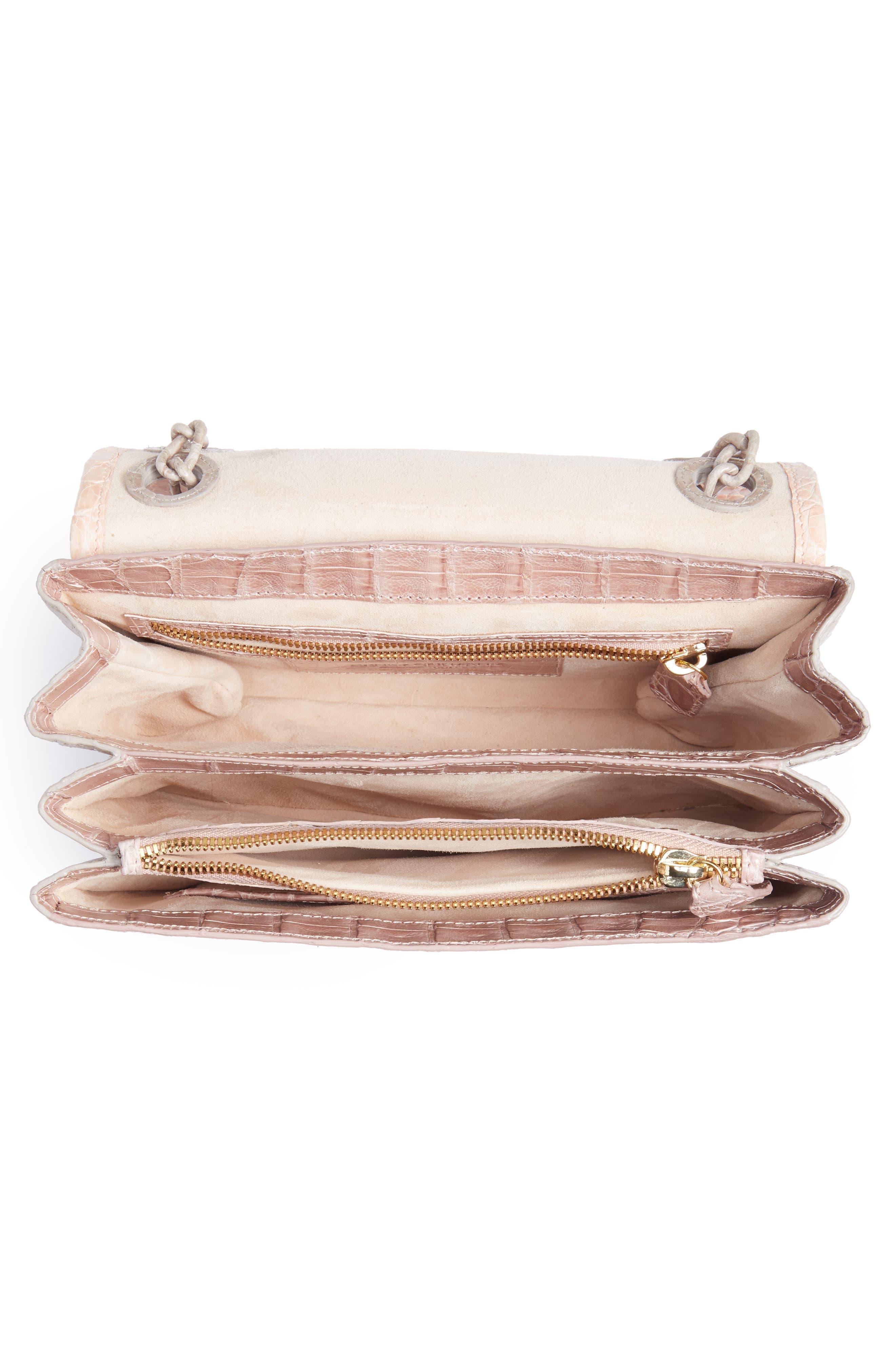 Small Madison Genuine Crocodile Shoulder Bag,                             Alternate thumbnail 5, color,                             NUDE/ TAUPE/ BLUSH