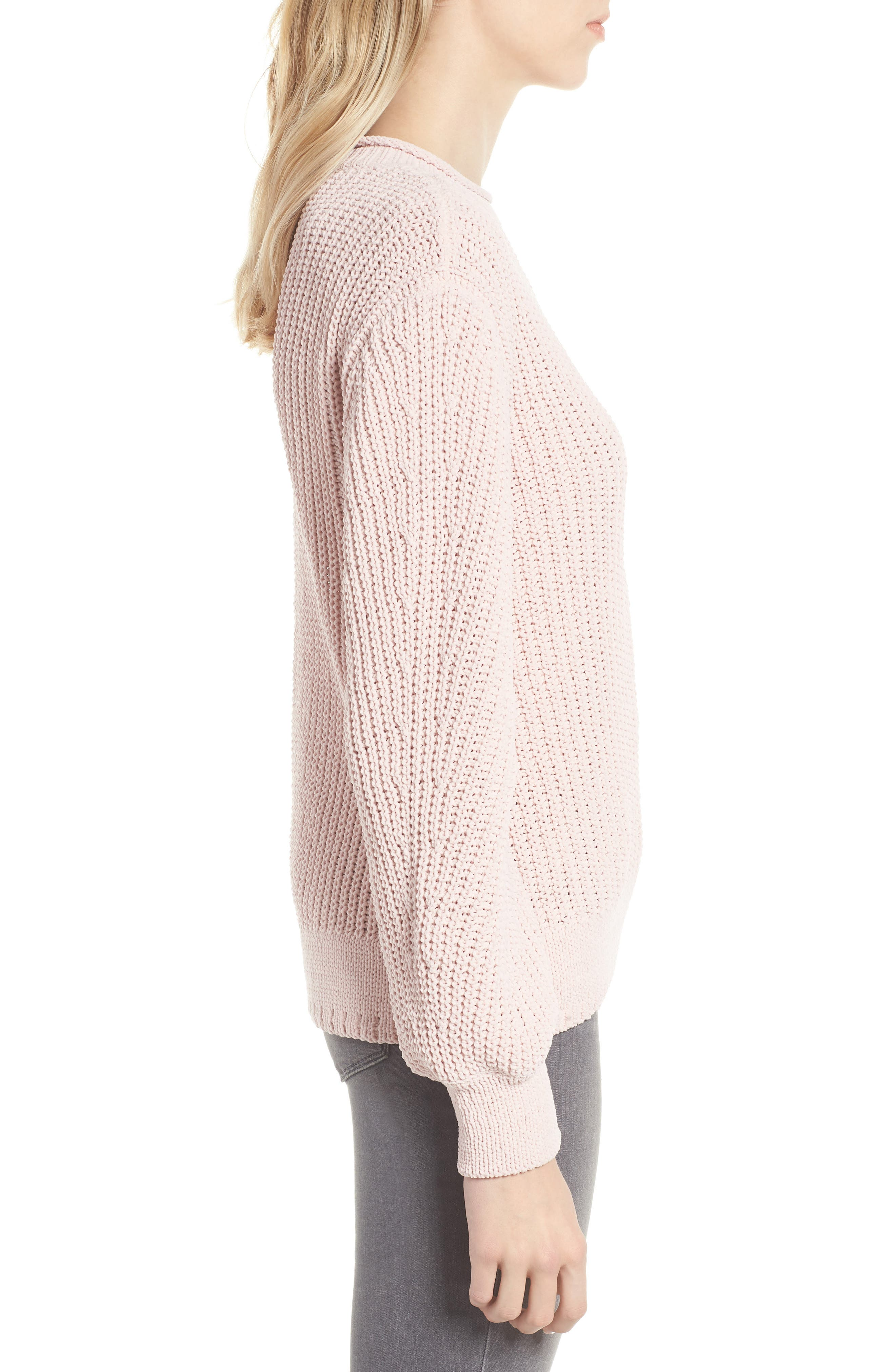 Chenille Crewneck Sweater,                             Alternate thumbnail 3, color,                             PINK SEPIA