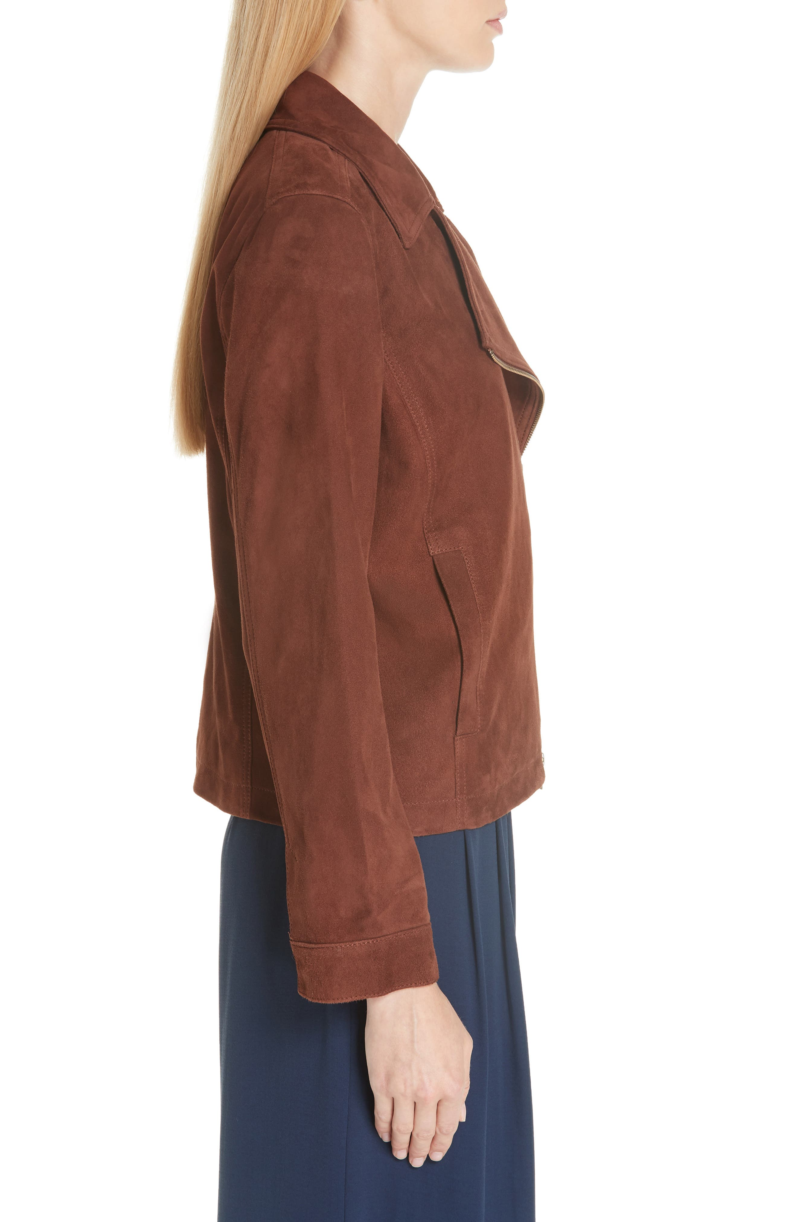Asymmetrical Zip Suede Jacket,                             Alternate thumbnail 3, color,                             NUTMEG