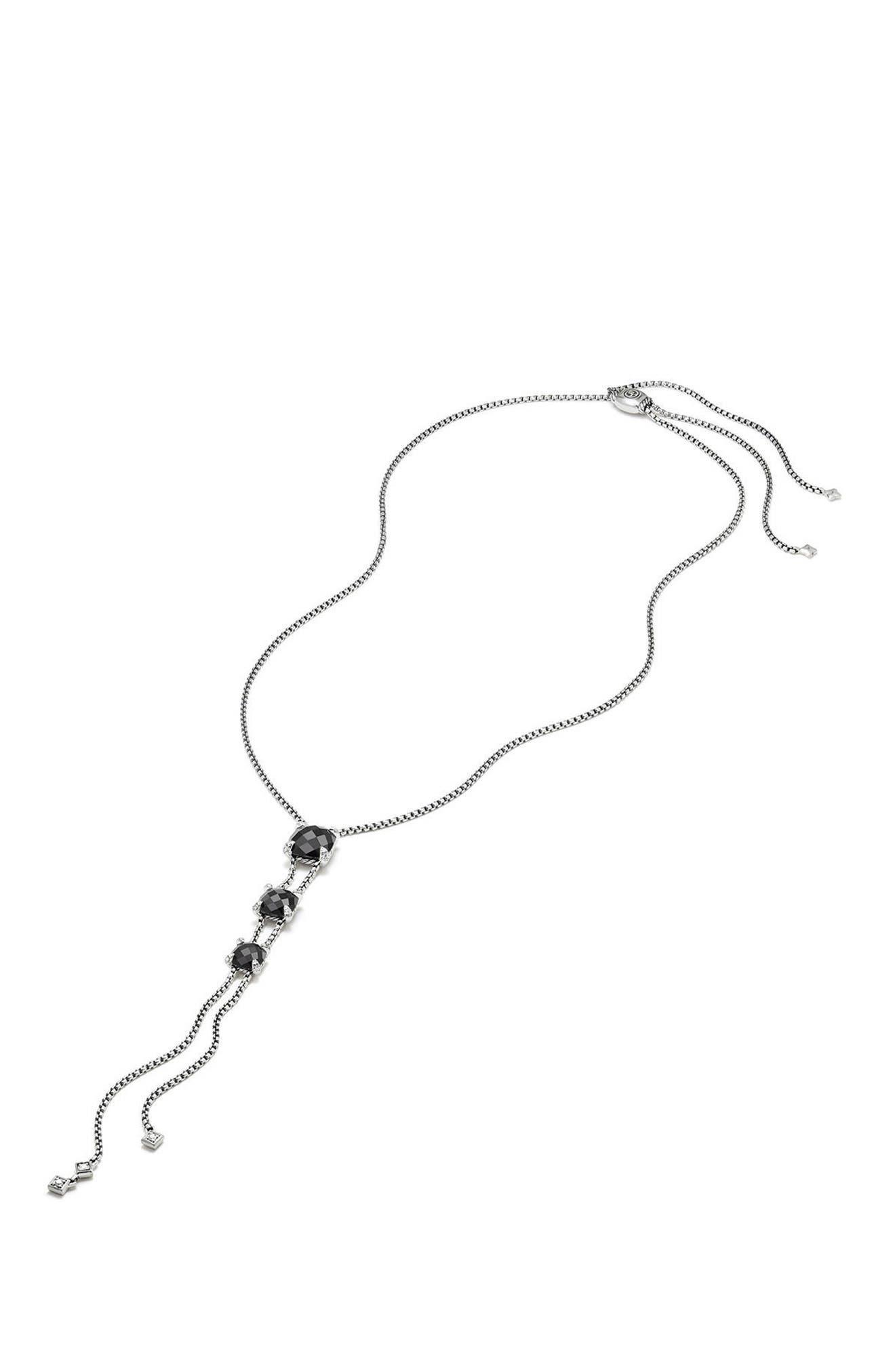 Châtelaine Y-Necklace with Diamonds,                             Alternate thumbnail 4, color,                             BLACK ONYX?