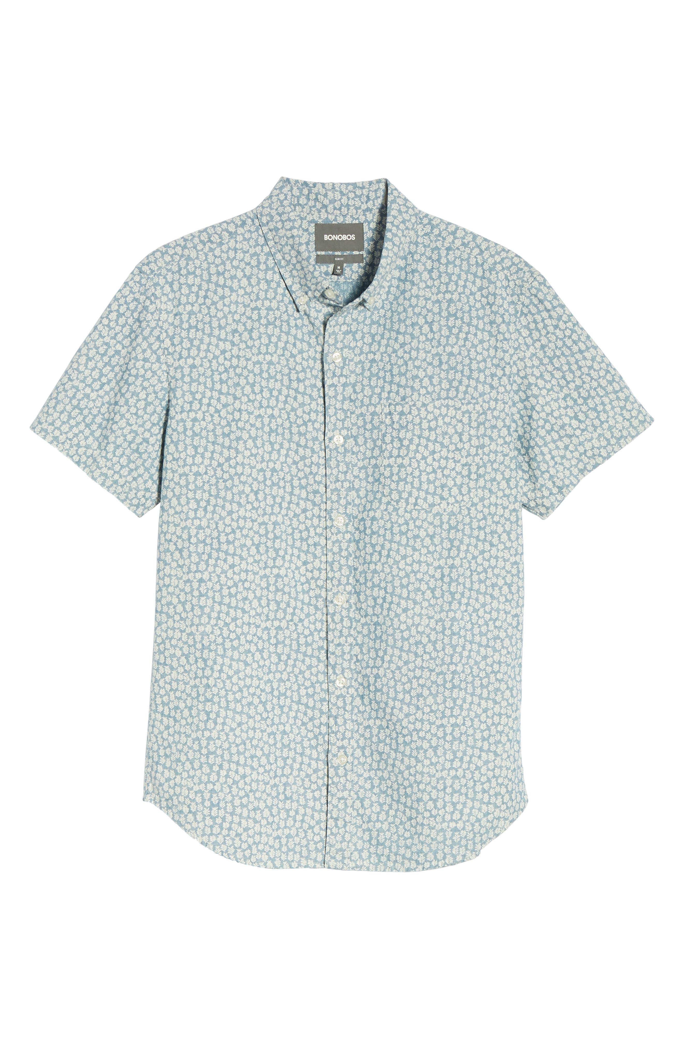 BONOBOS,                             Riviera Slim Fit Leaf Print Sport Shirt,                             Alternate thumbnail 6, color,                             400