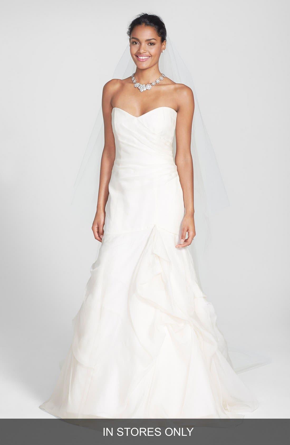Strapless Silk Organza Mermaid Wedding Dress,                             Main thumbnail 1, color,