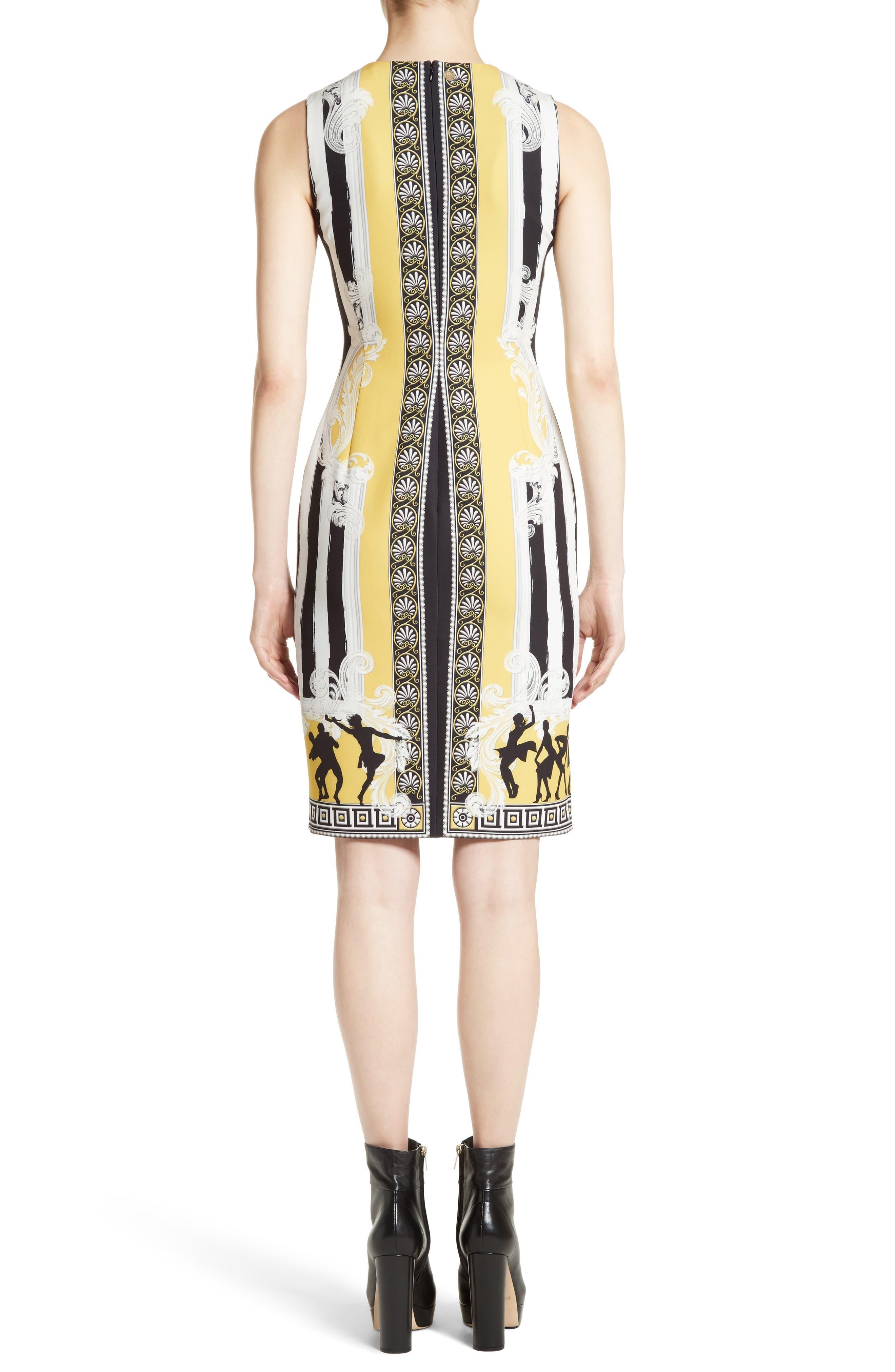 Placed Catwalk Print Silk Dress,                             Alternate thumbnail 2, color,                             100