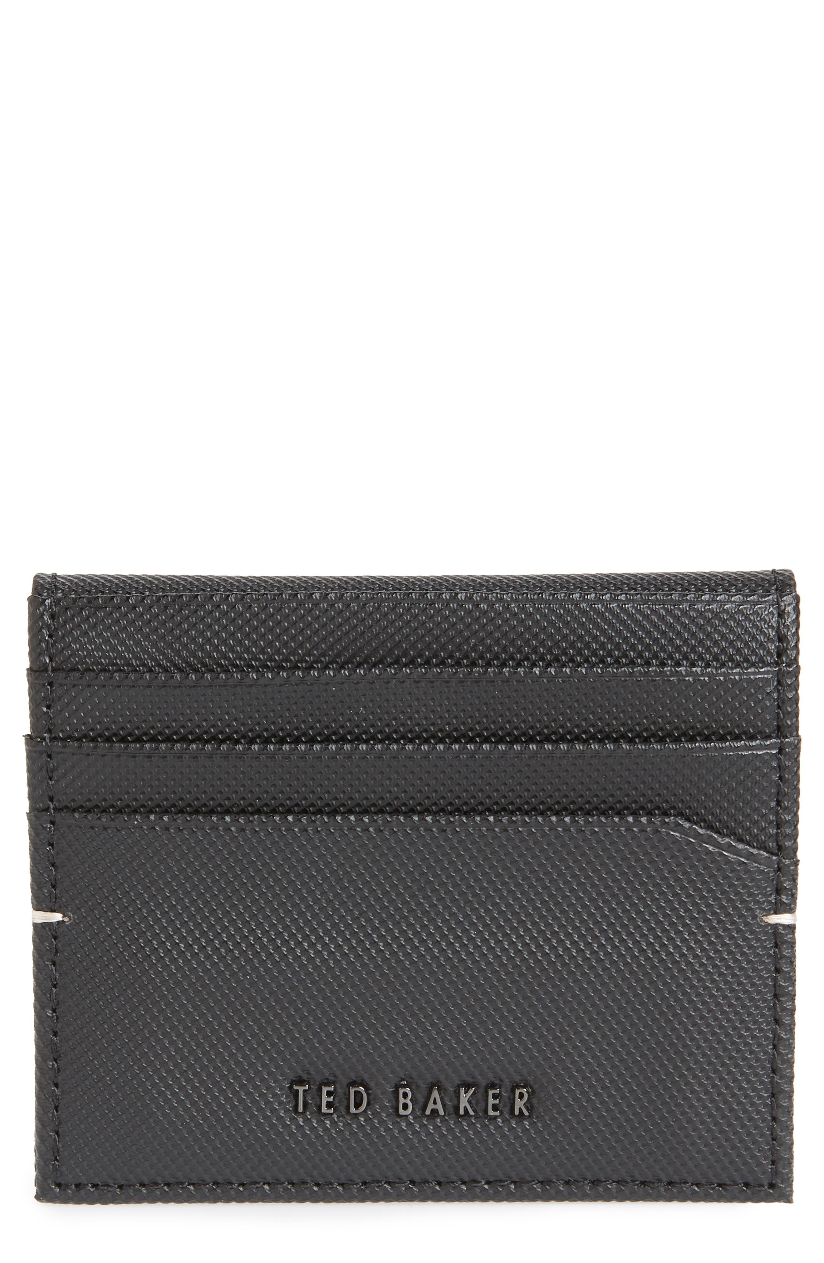 Micro Perforated Leather Bifold Card Holder,                         Main,                         color, BLACK
