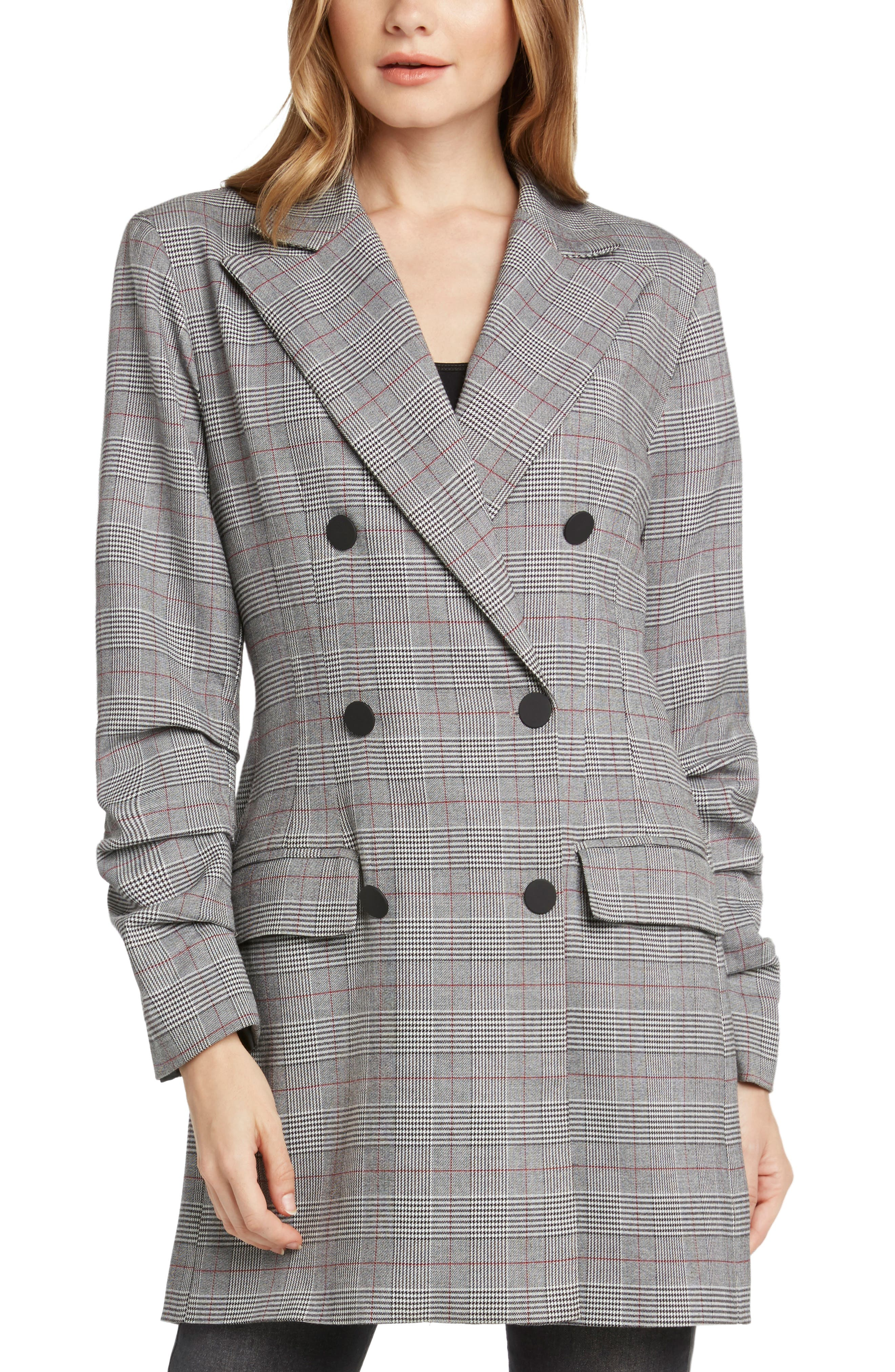 Double Breasted Plaid Jacket,                             Alternate thumbnail 3, color,                             BLACK