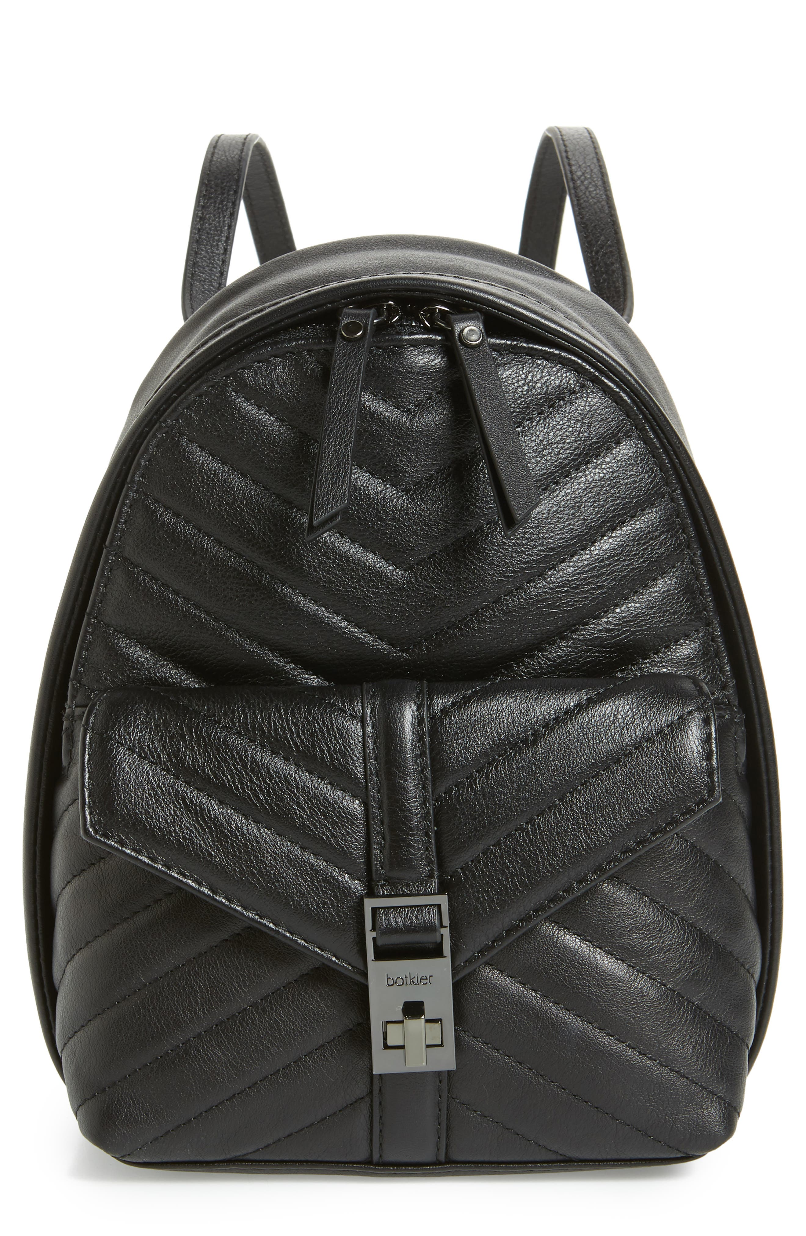 Dakota Quilted Leather Backpack,                             Main thumbnail 1, color,                             001
