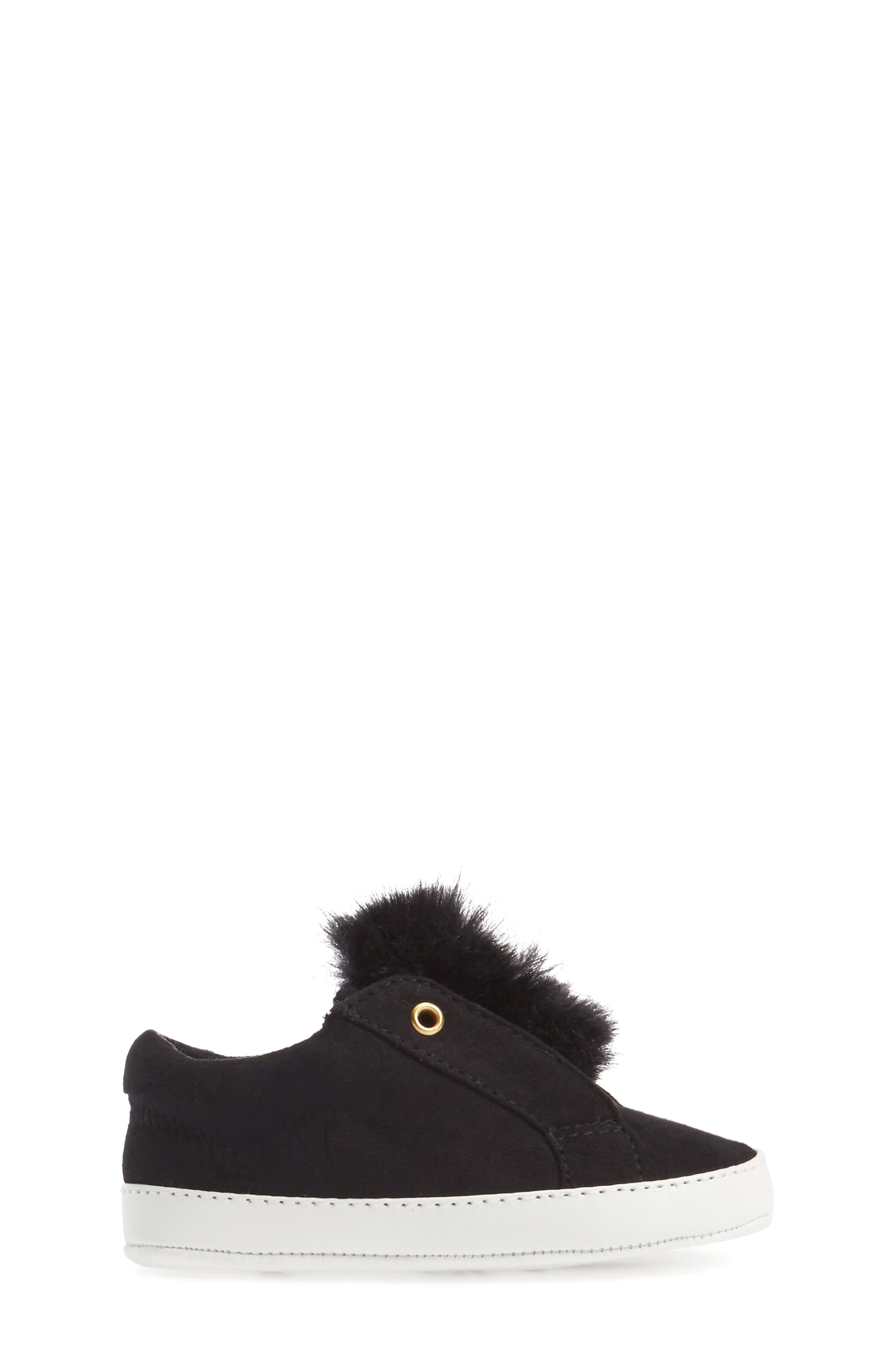 Leya Faux Fur Pompom Sneaker,                             Alternate thumbnail 3, color,                             001