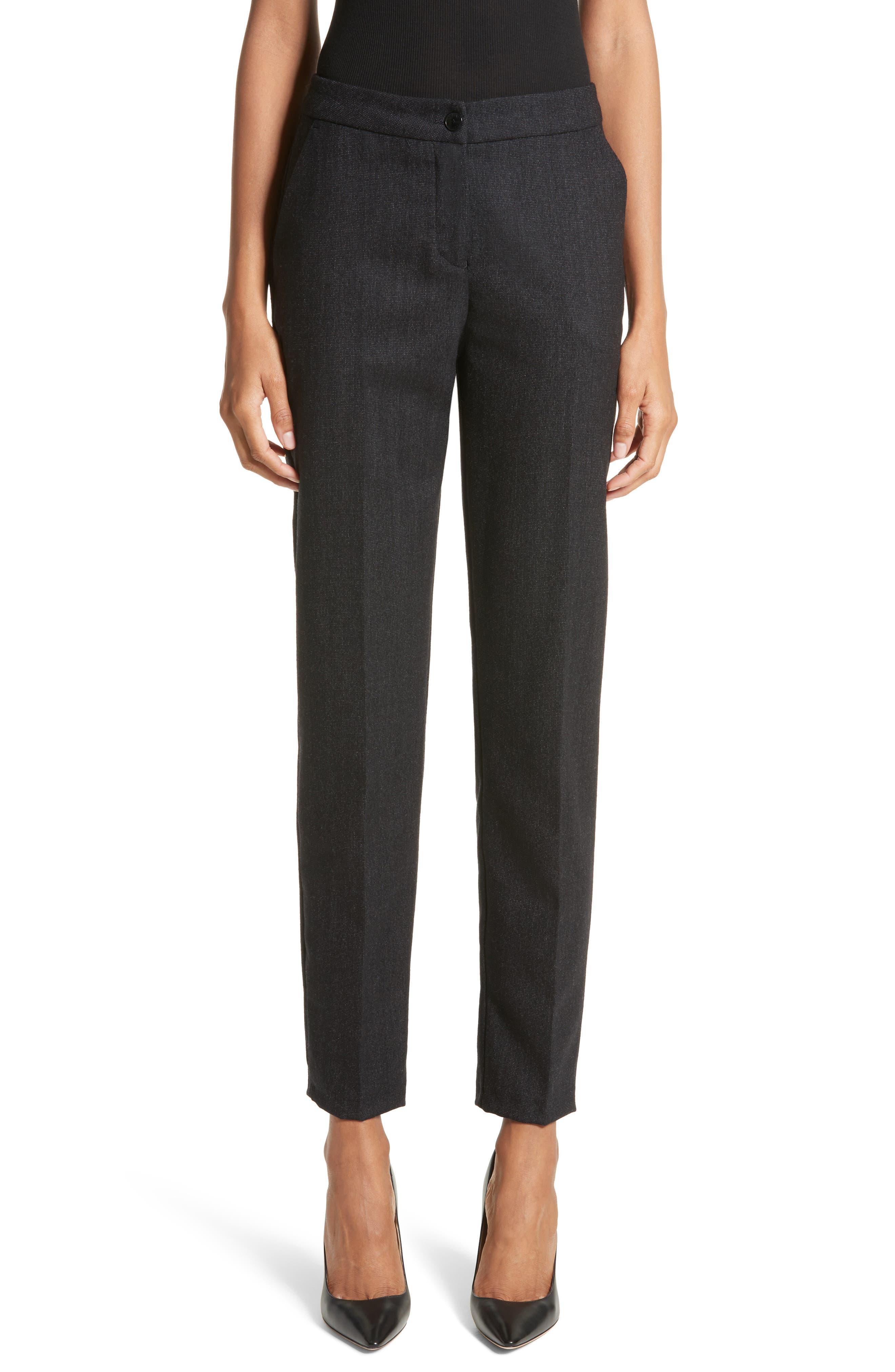 Armani Jeans Stretch Wool Slim Pants,                             Main thumbnail 1, color,                             001
