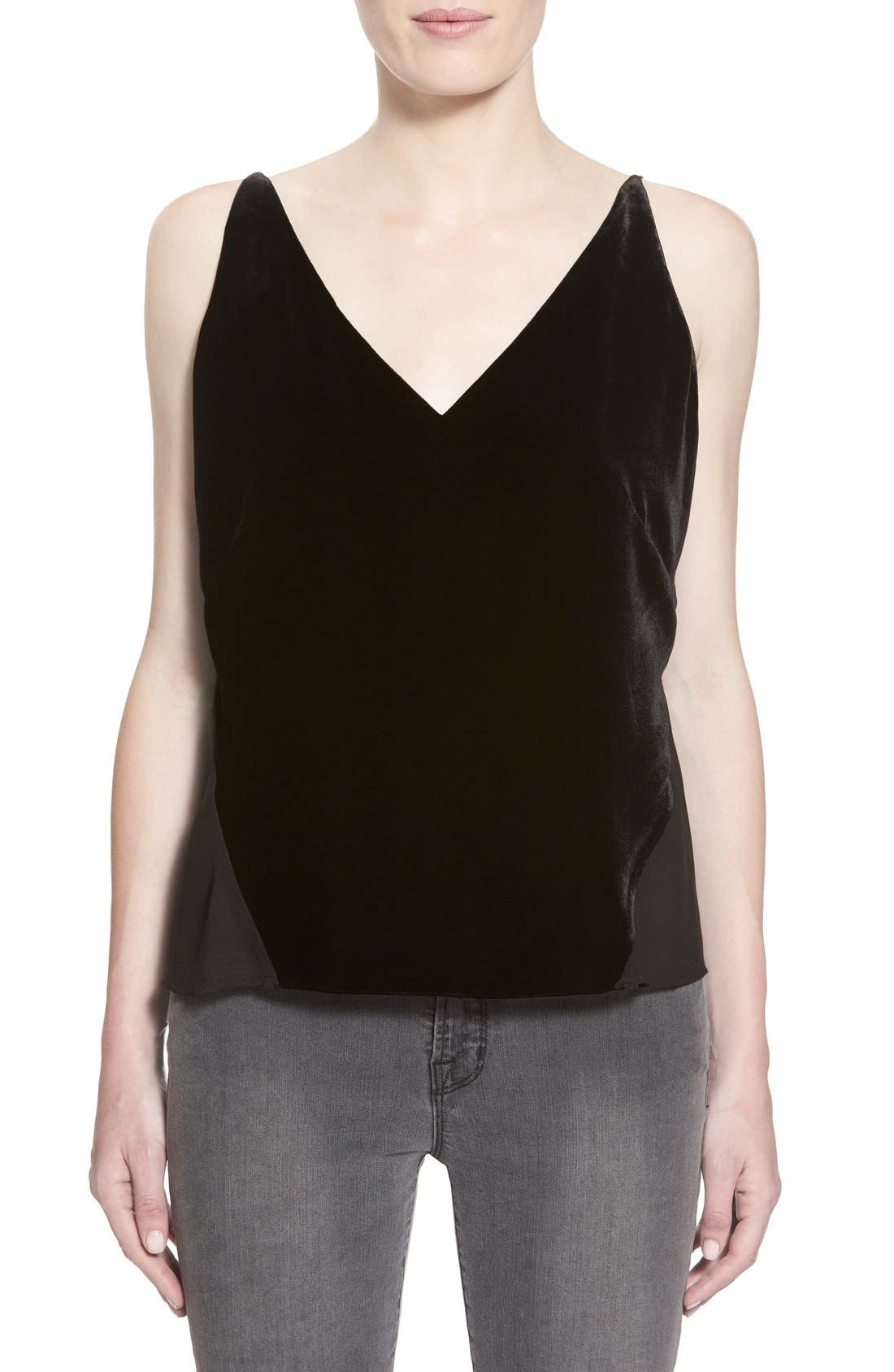 'Lucy' Velvet Front Camisole,                             Main thumbnail 1, color,                             BLACK
