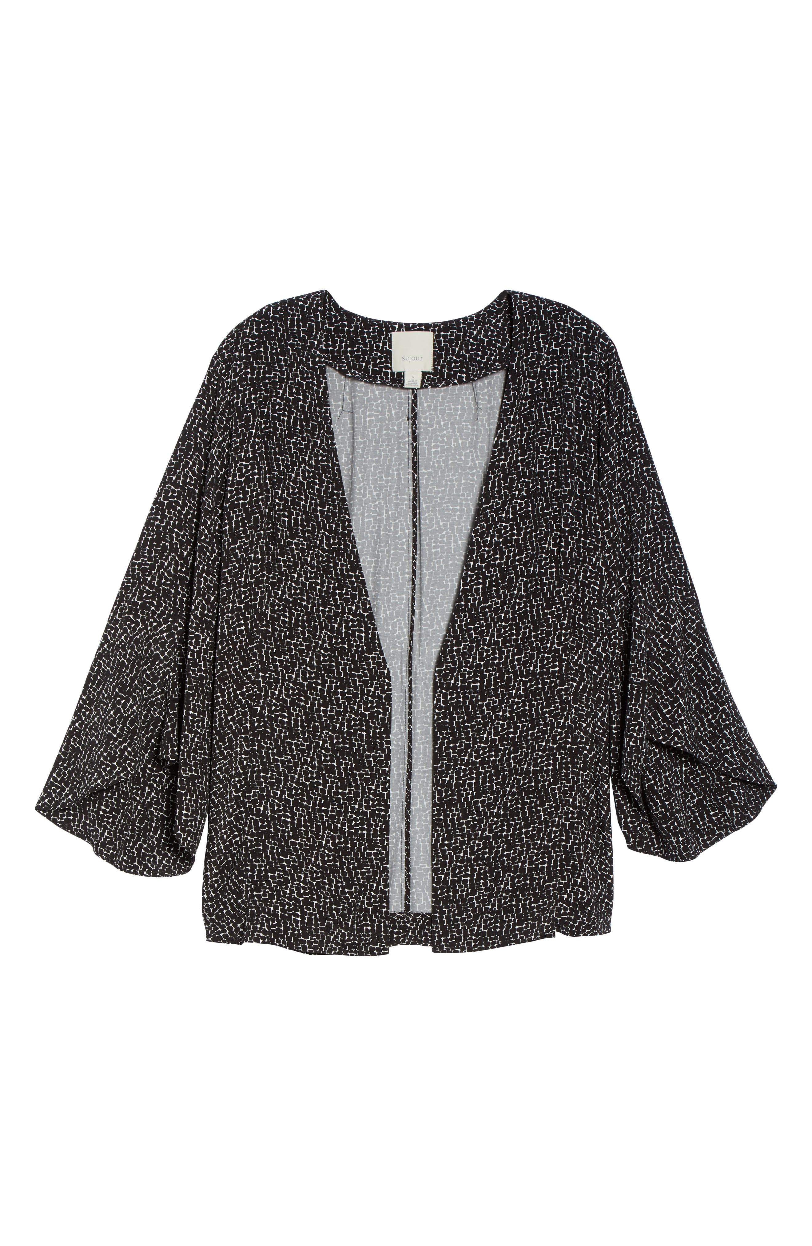 Ruffle Sleeve Soft Crepe Jacket,                             Alternate thumbnail 6, color,                             BLACK-IVORY GIA PRINT