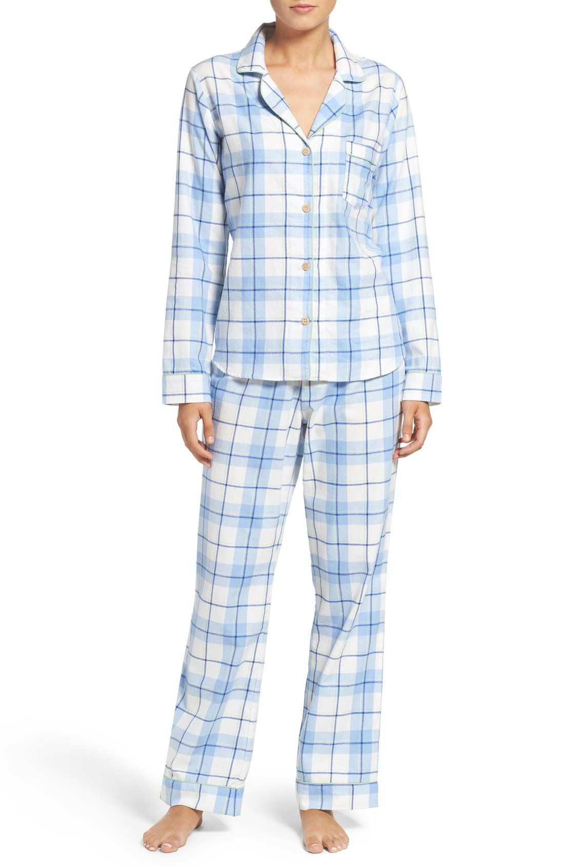 'Raven' Plaid Cotton Pajamas, Main, color, 410