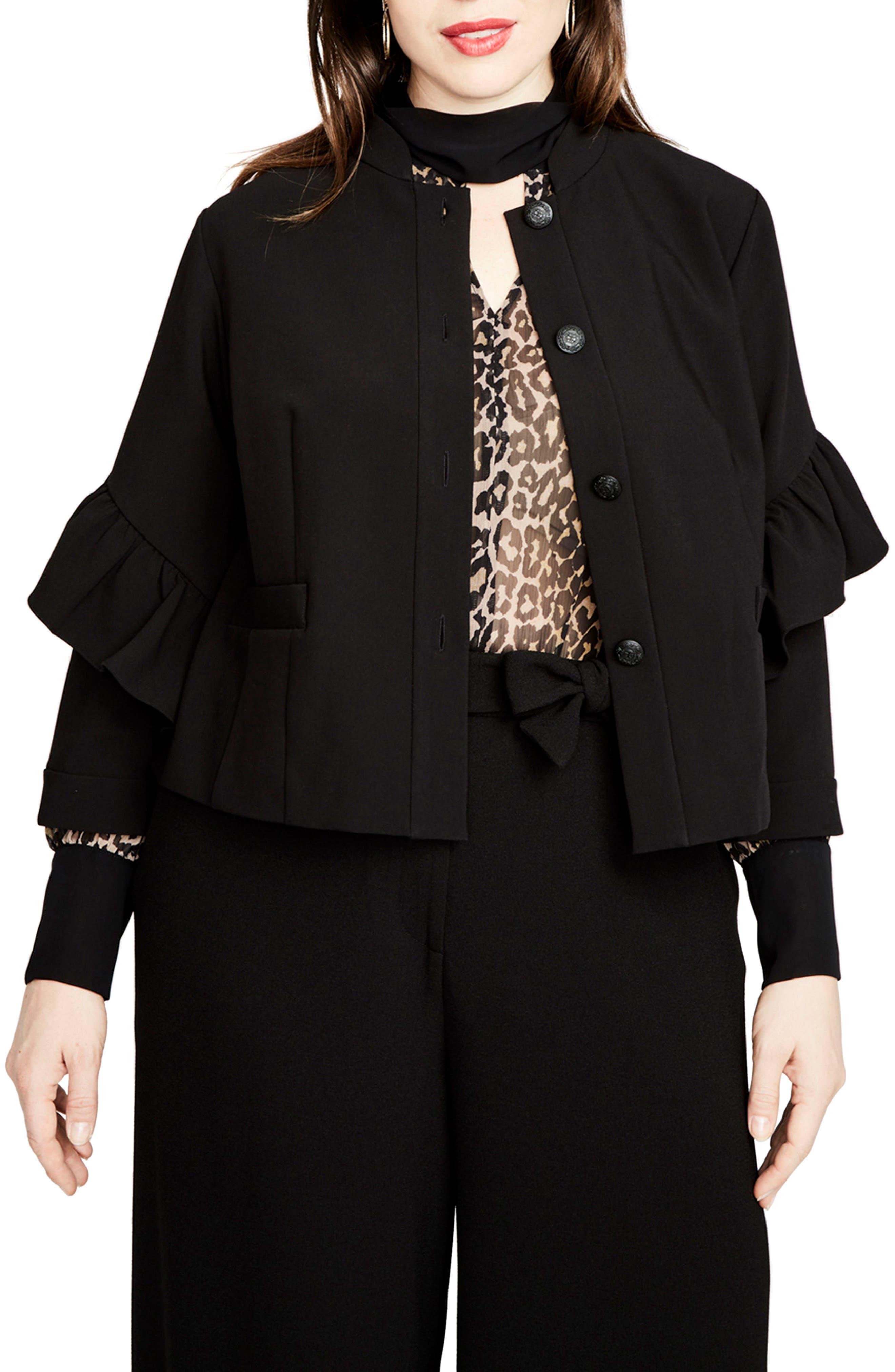 Ruffle Sleeve Jacket,                         Main,                         color, 001