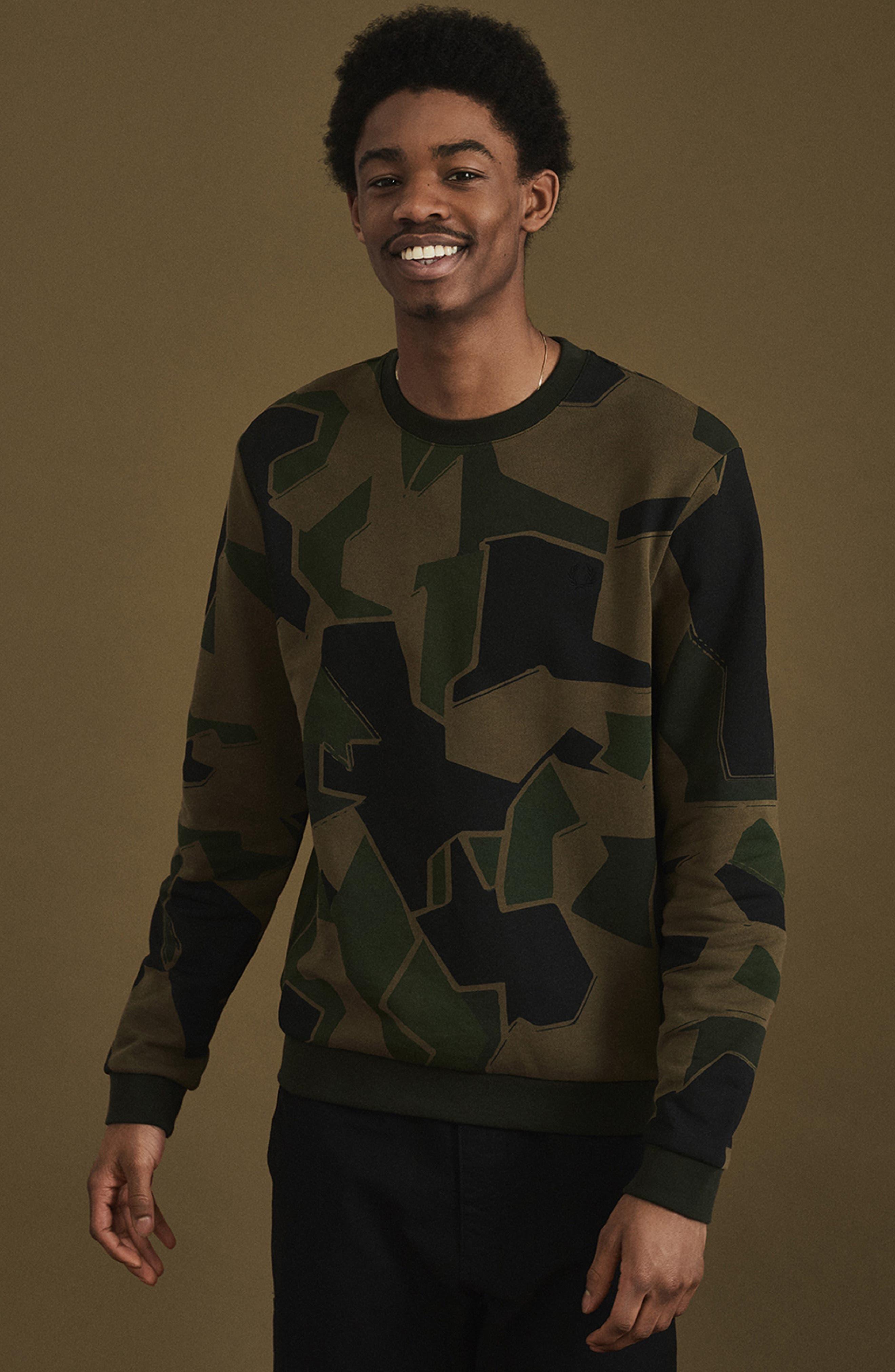 Camoflage Sweatshirt,                             Alternate thumbnail 7, color,                             WOODLAND CAMO