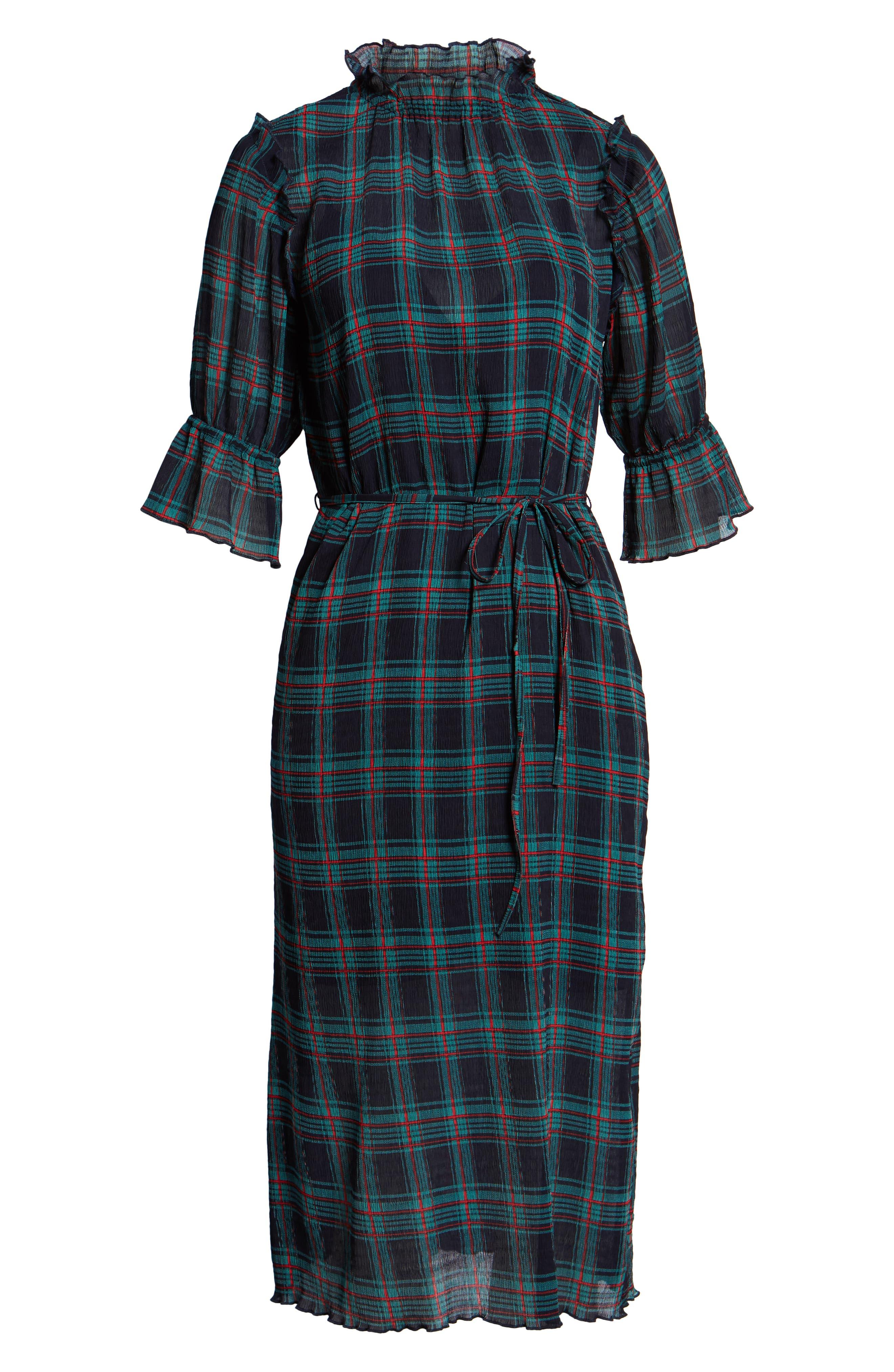 Zone Tartan Midi Dress,                             Alternate thumbnail 7, color,                             400