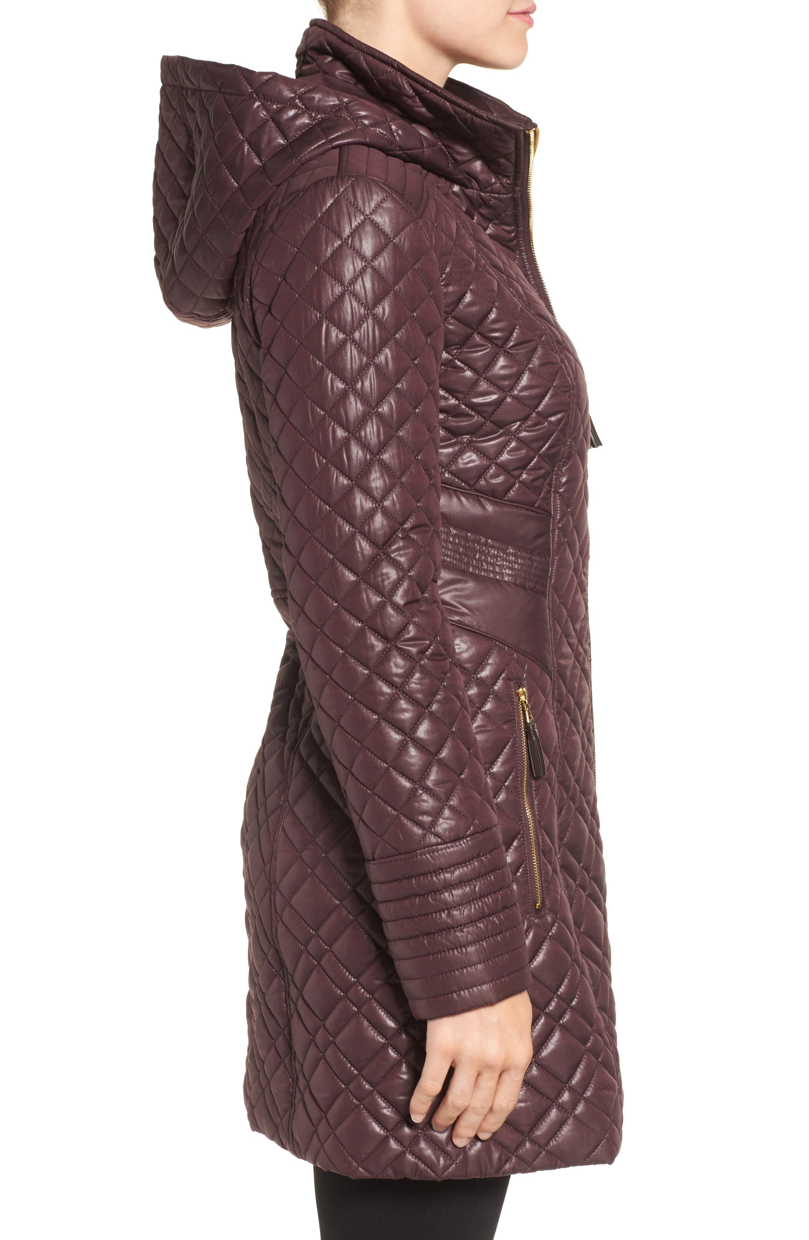 Tassel Detail Hooded Mix Quilt Coat,                             Alternate thumbnail 12, color,
