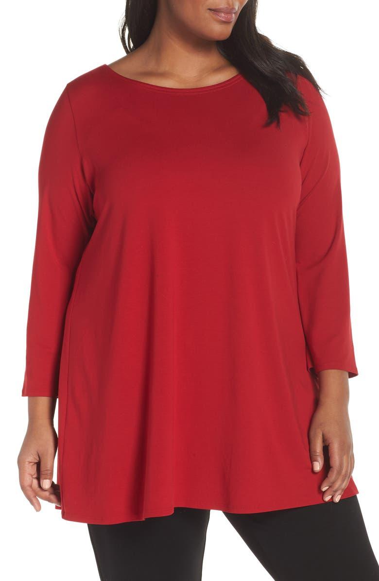 8649cfd96dd Eileen Fisher Wide-Sleeve Ballet-Neck Viscose Jersey Tunic