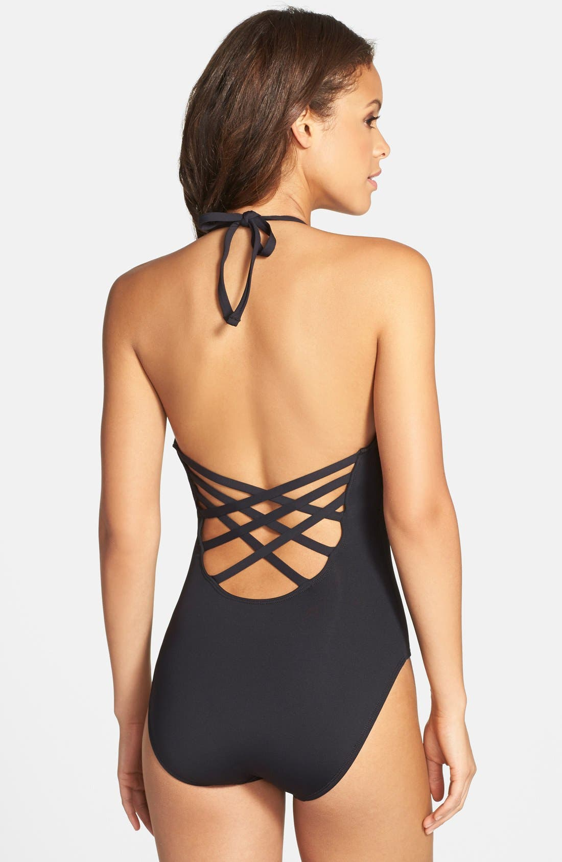 Caged Strap One-Piece Swimsuit,                             Alternate thumbnail 8, color,                             001