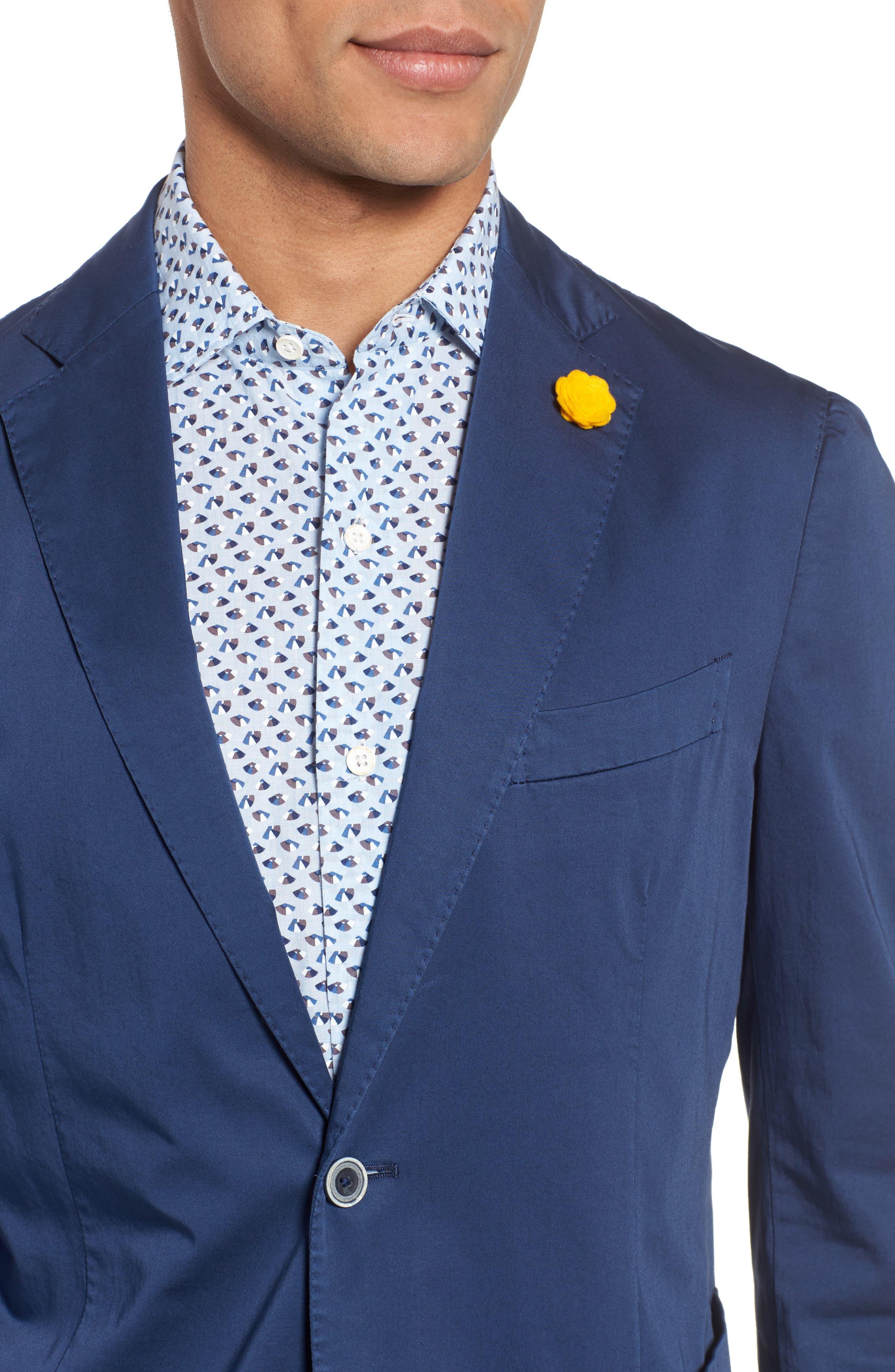 Trim Fit Stretch Cotton Blazer,                             Alternate thumbnail 4, color,                             400