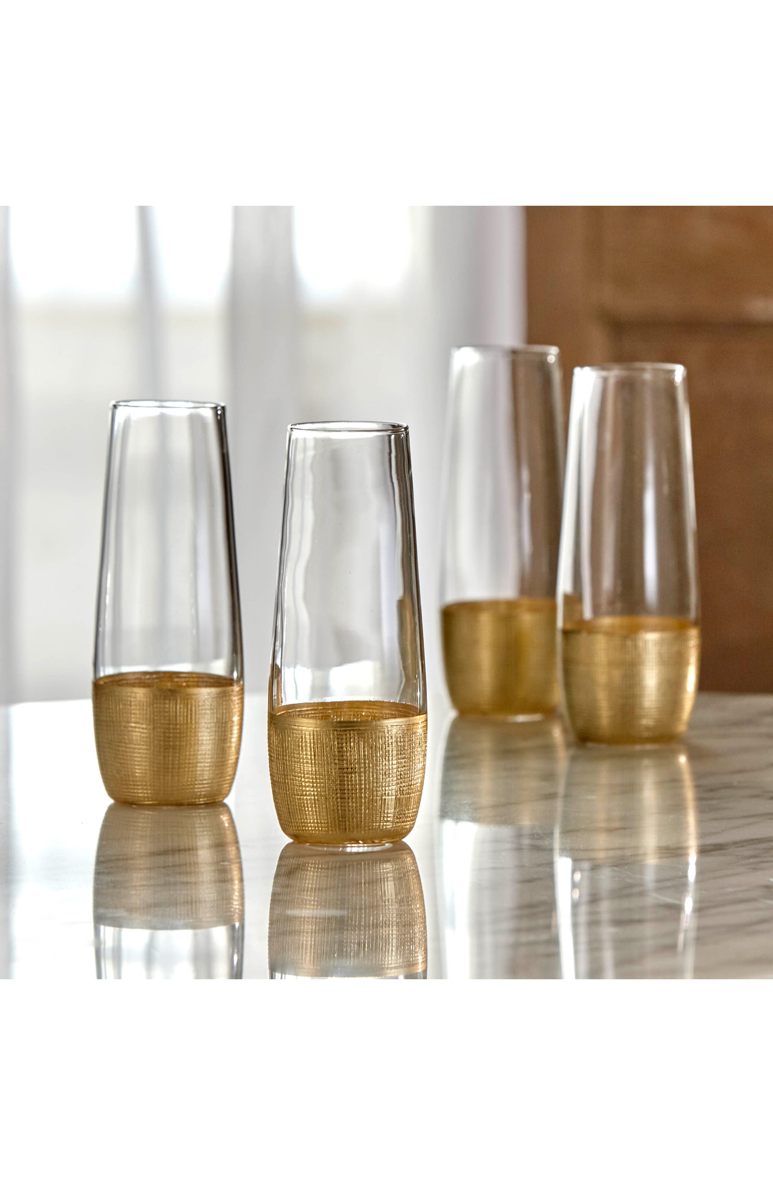 Linen Set of 4 Stemless Champagne Flutes,                             Alternate thumbnail 3, color,                             GOLD