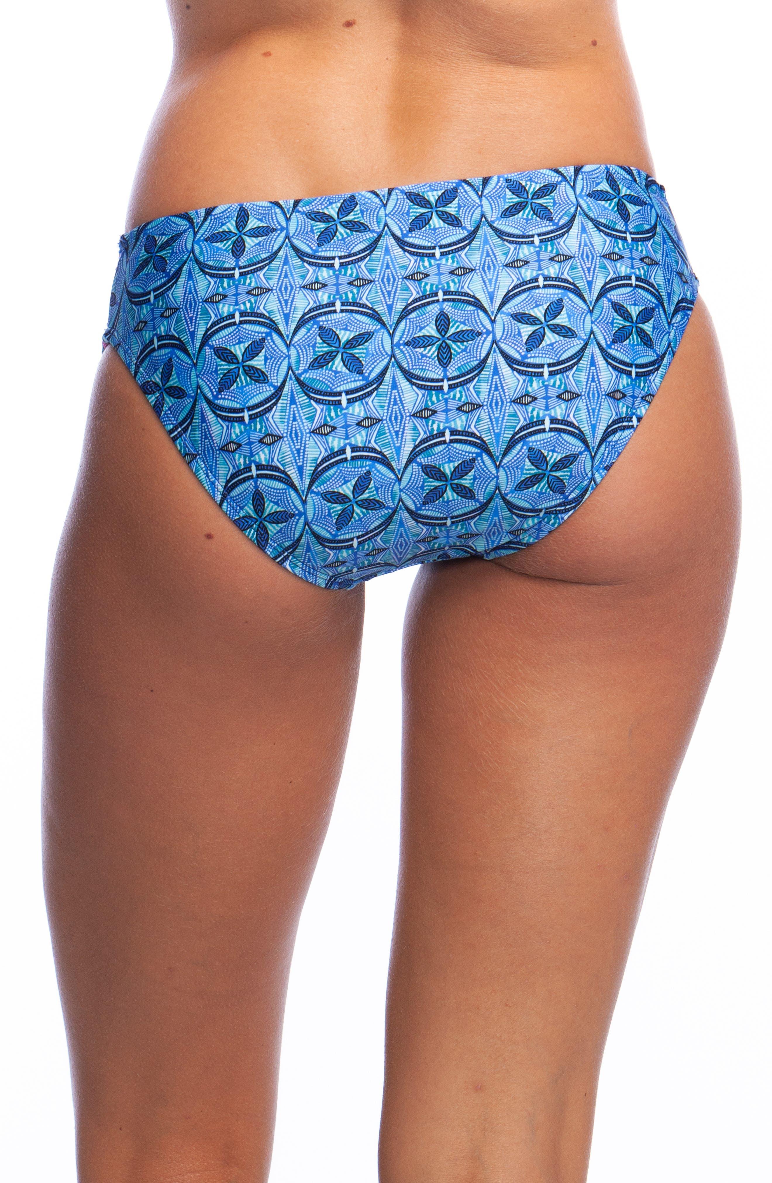 Shirred Hipster Bikini Bottoms,                             Alternate thumbnail 2, color,                             BLUE