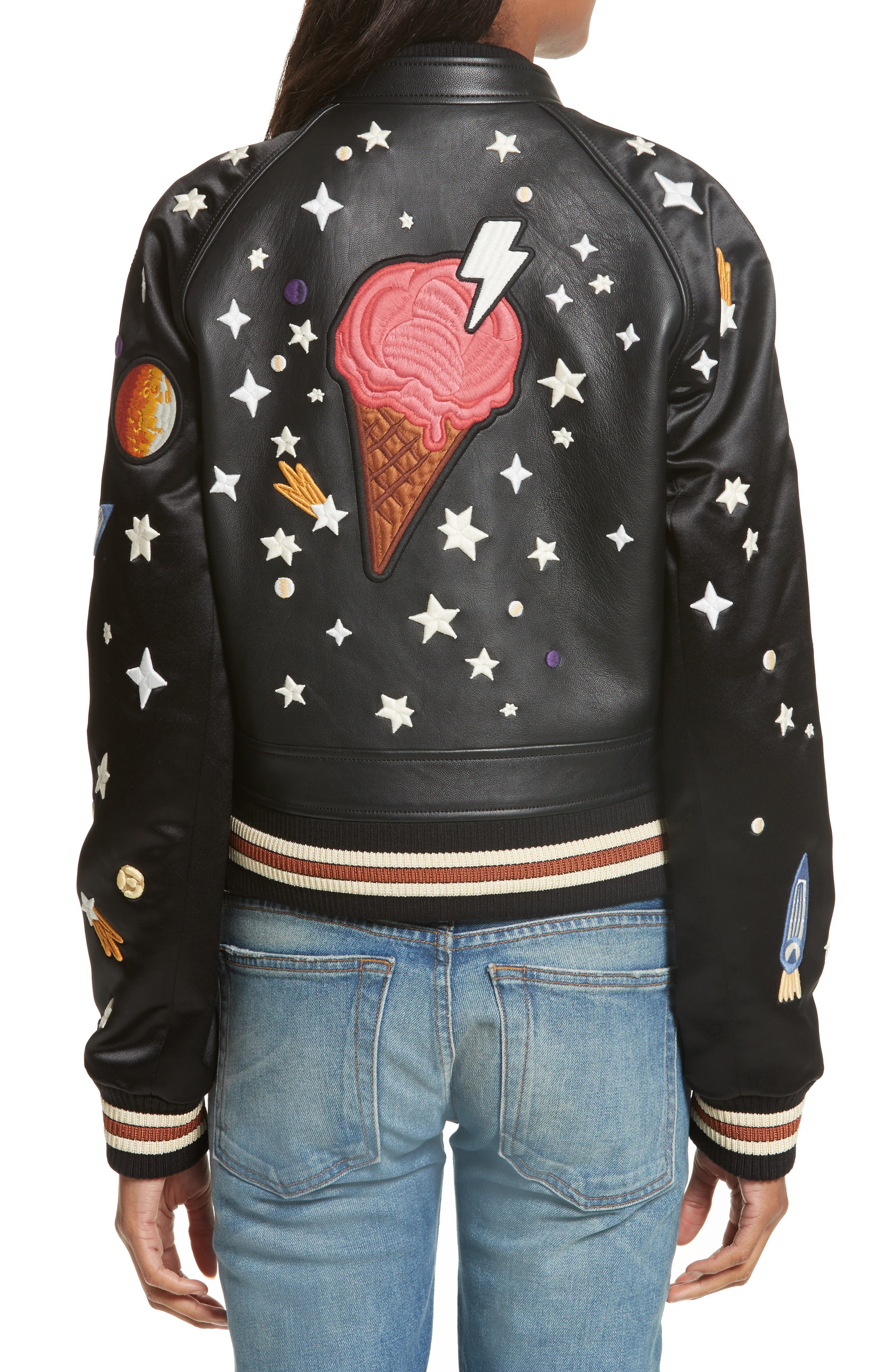 Embroidered Sundae Souvenir Jacket,                             Alternate thumbnail 2, color,                             001