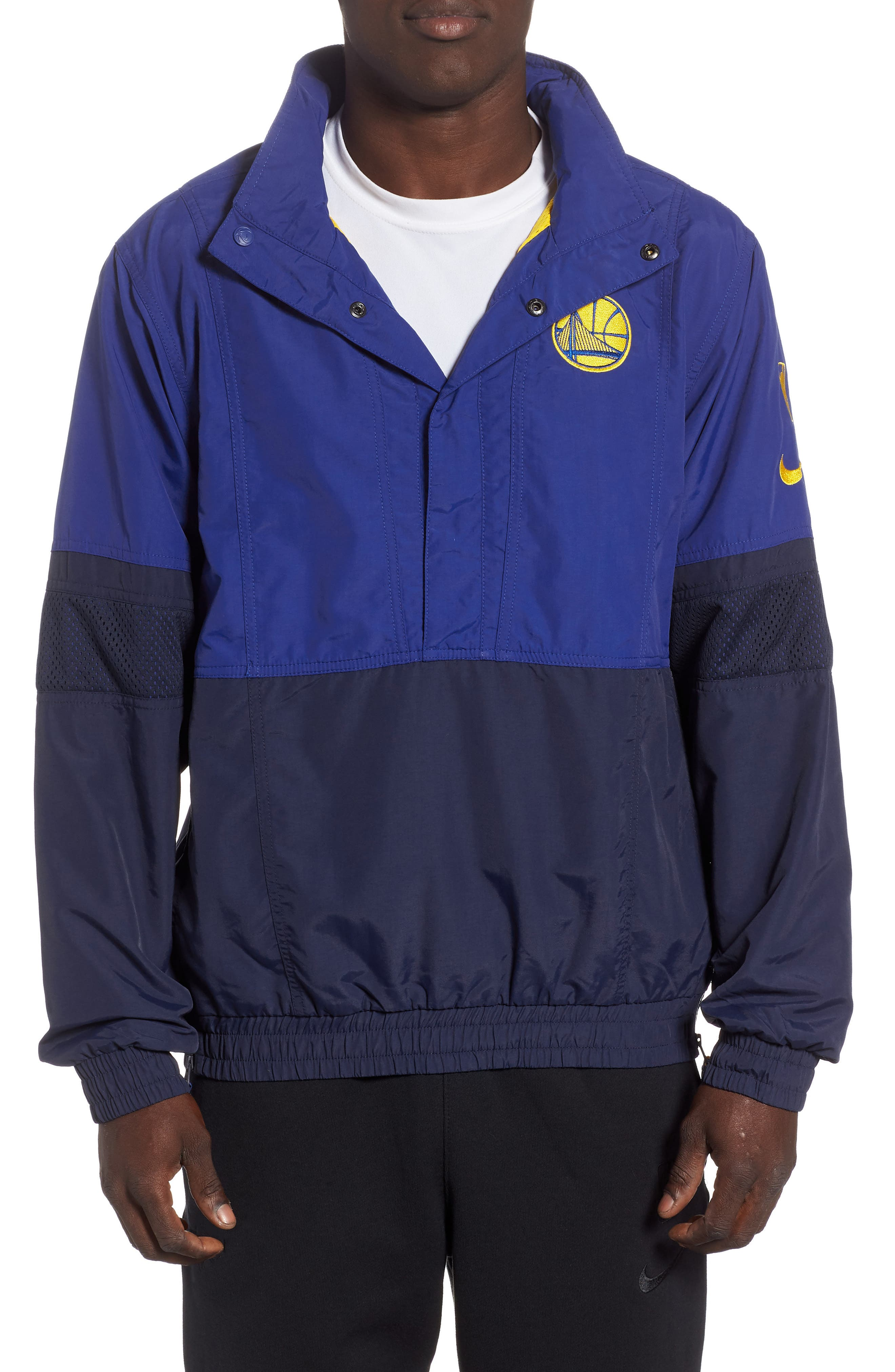 Golden State Warriors Courtside Warm-Up Jacket,                             Main thumbnail 1, color,                             RUSH BLUE/ NAVY/ AMARILLO