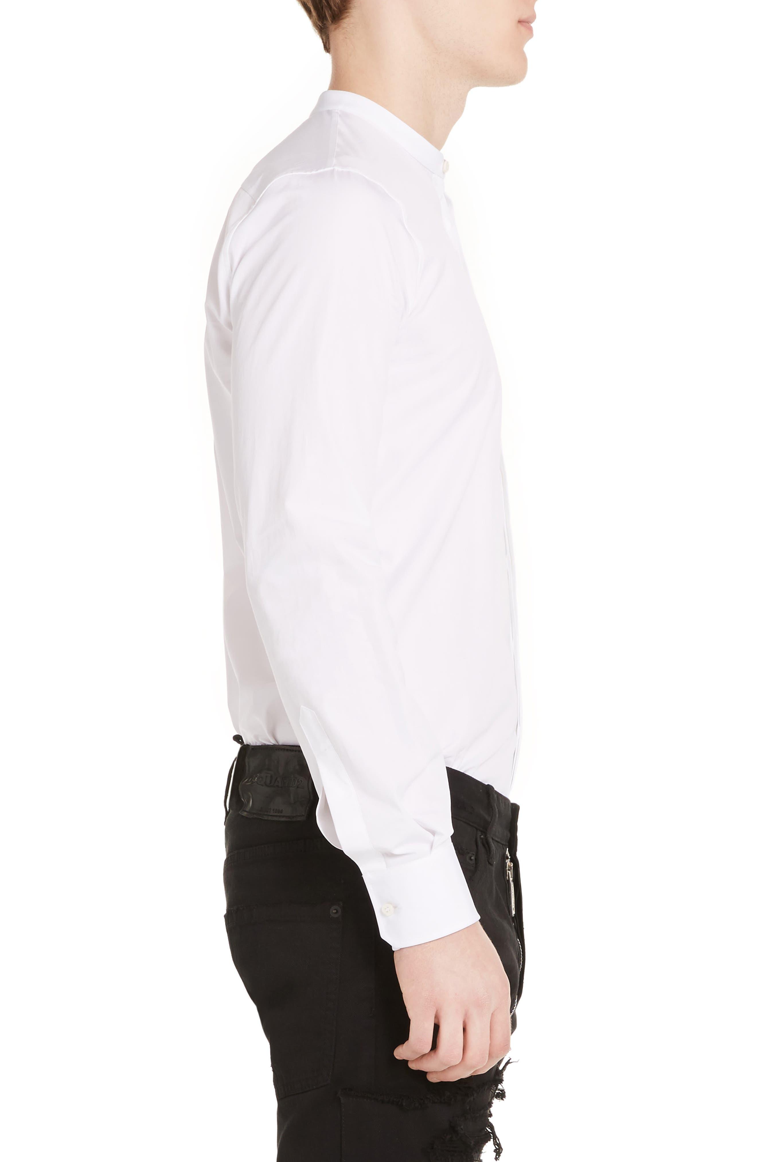 Band Collar Poplin Shirt,                             Alternate thumbnail 3, color,                             100