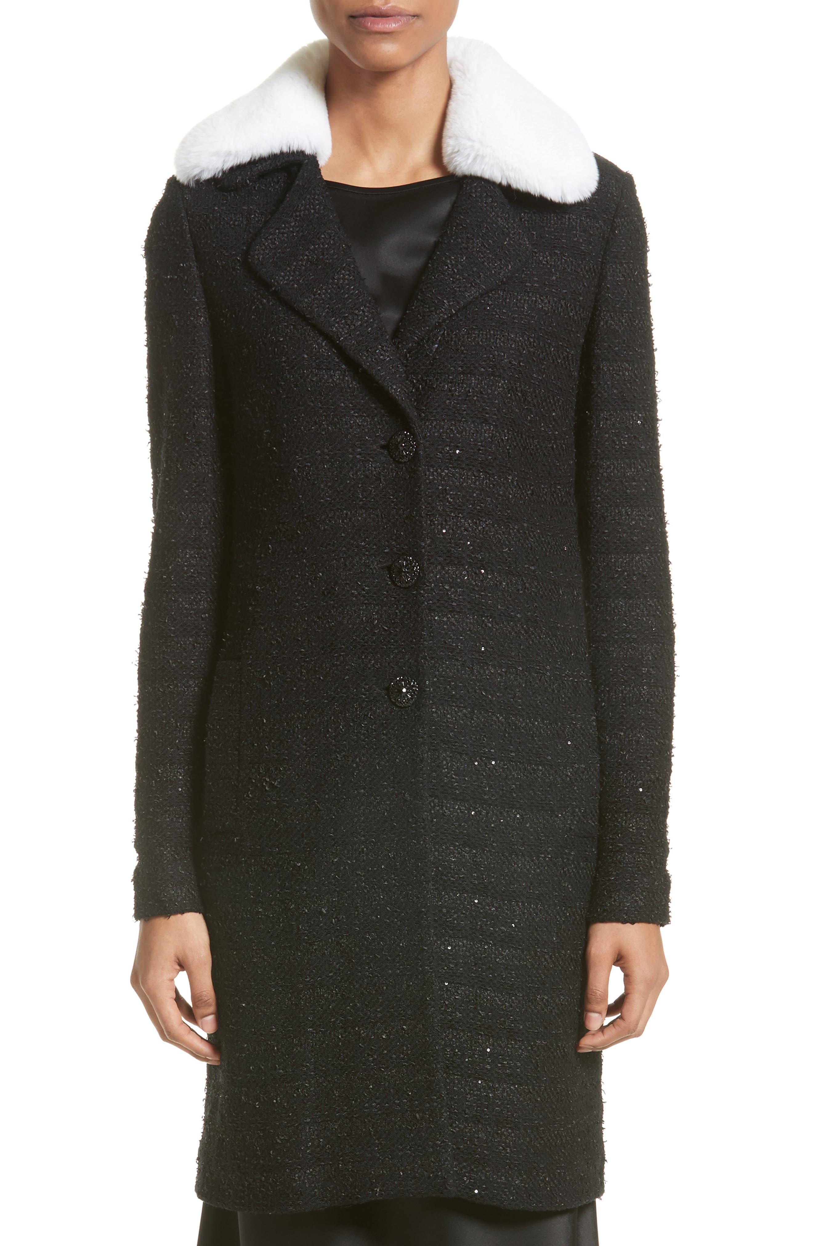 Sequin Knit Topper with Detachable Genuine Rabbit Fur Collar,                         Main,                         color, 001