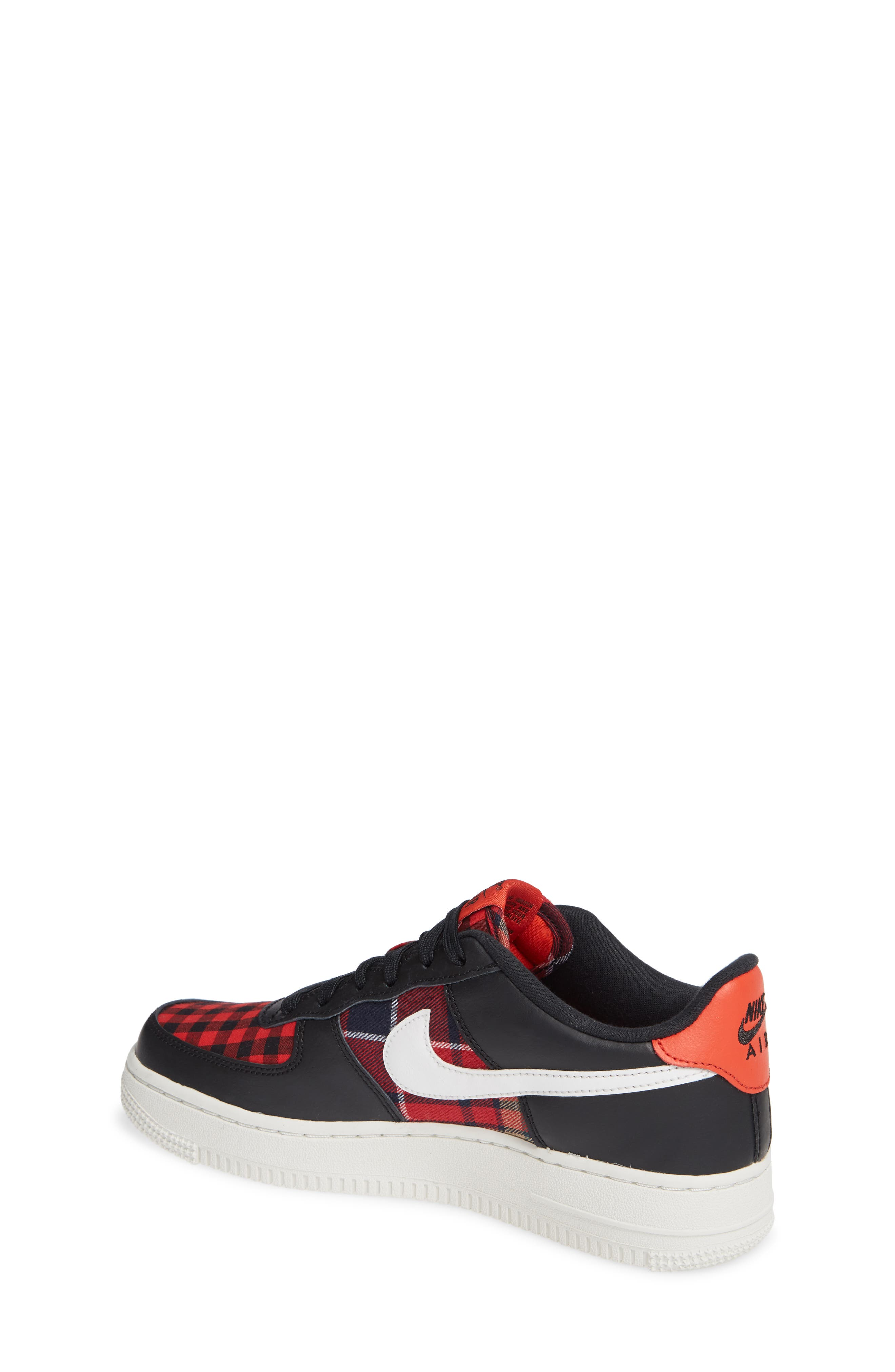 Air Force 1 LV8 Sneaker,                             Alternate thumbnail 2, color,                             BLACK/ SUMMIT RED