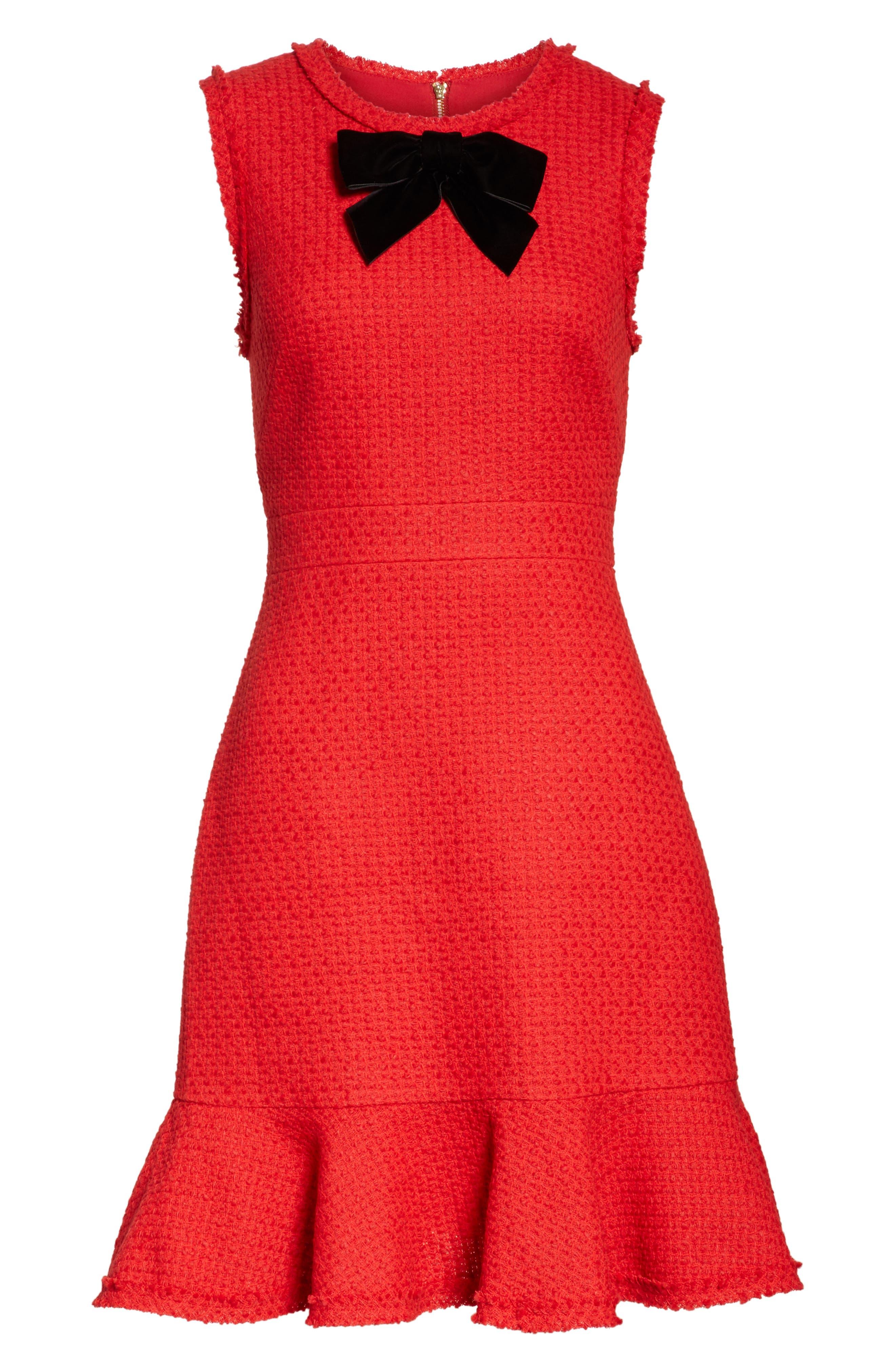 ruffle hem tweed dress,                             Alternate thumbnail 6, color,