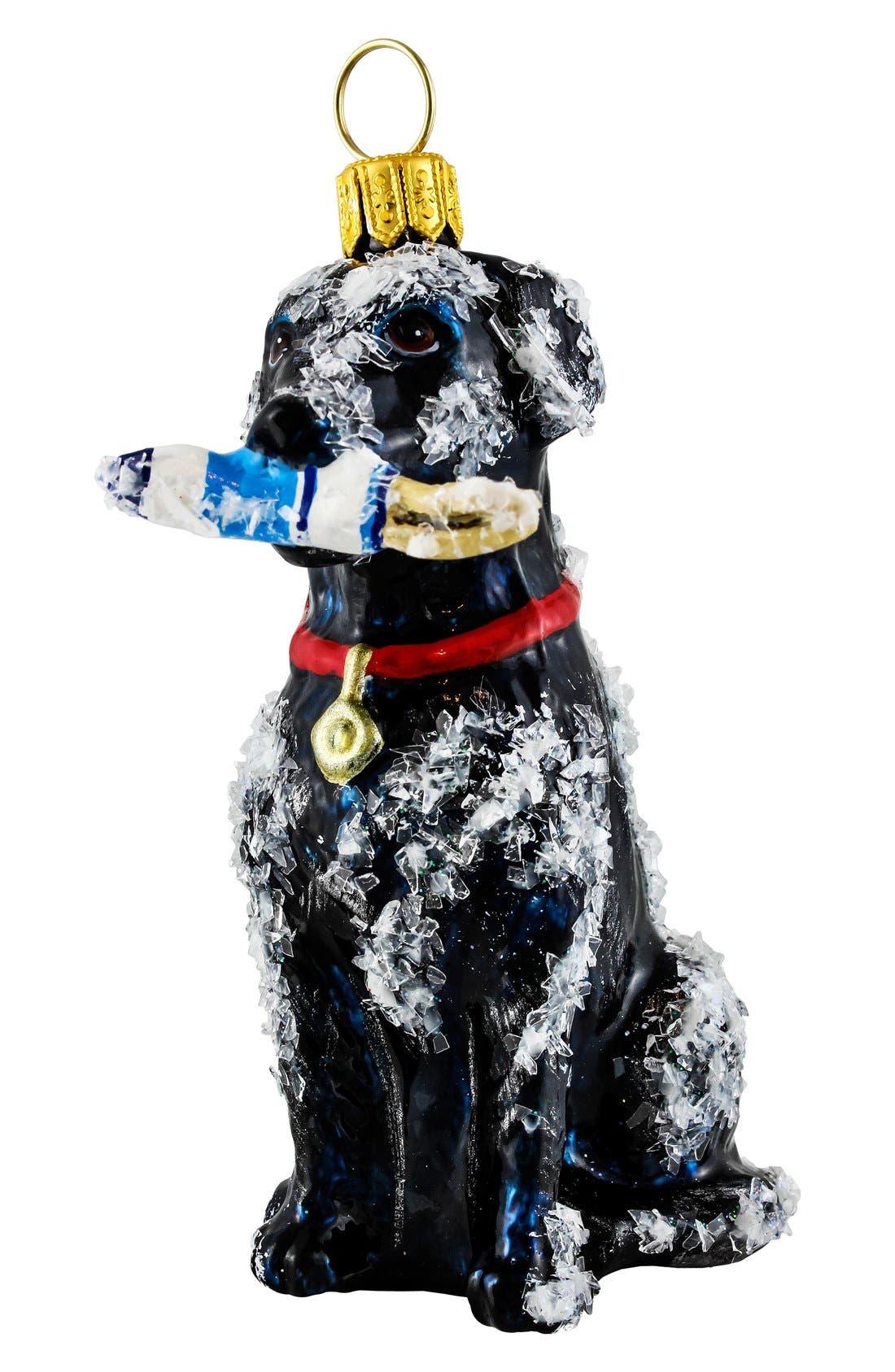 'Labrador with Buoy' Ornament,                             Main thumbnail 1, color,                             BLACK LABRADOR
