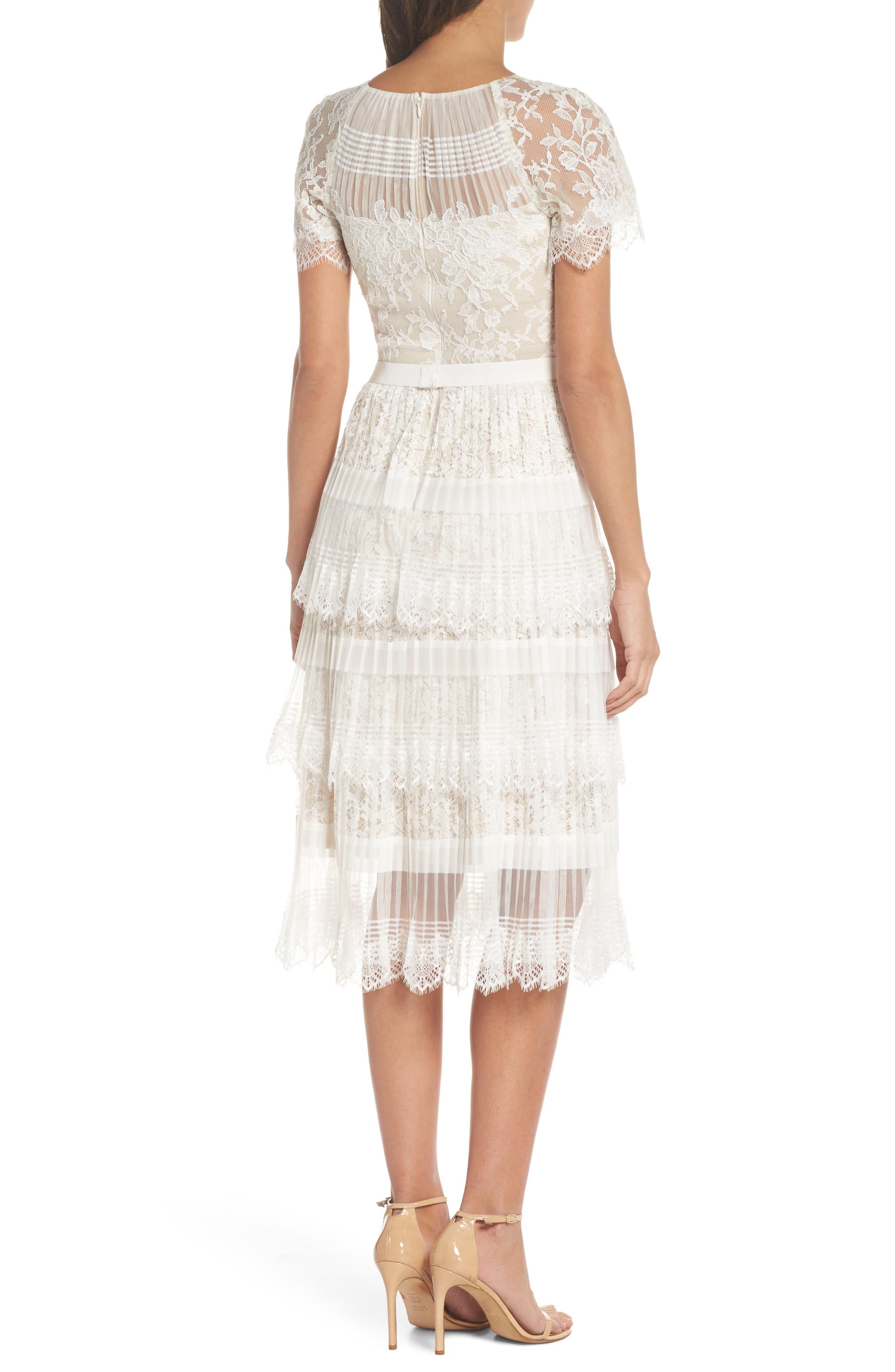 Nixie Tea Length Lace Dress,                             Alternate thumbnail 2, color,                             113