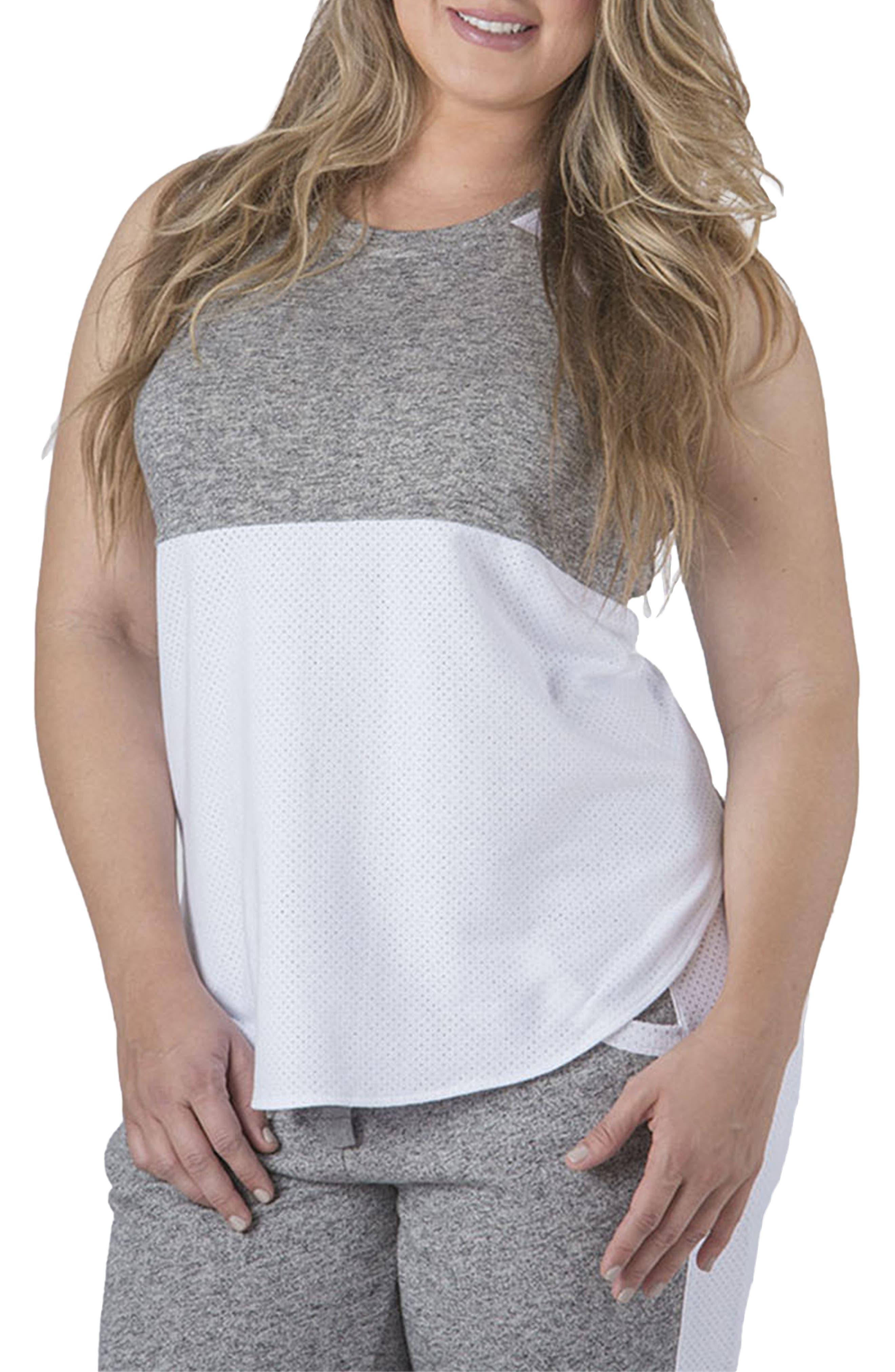Plus Size Standards & Practices Elsa Mesh Tank Top, Grey