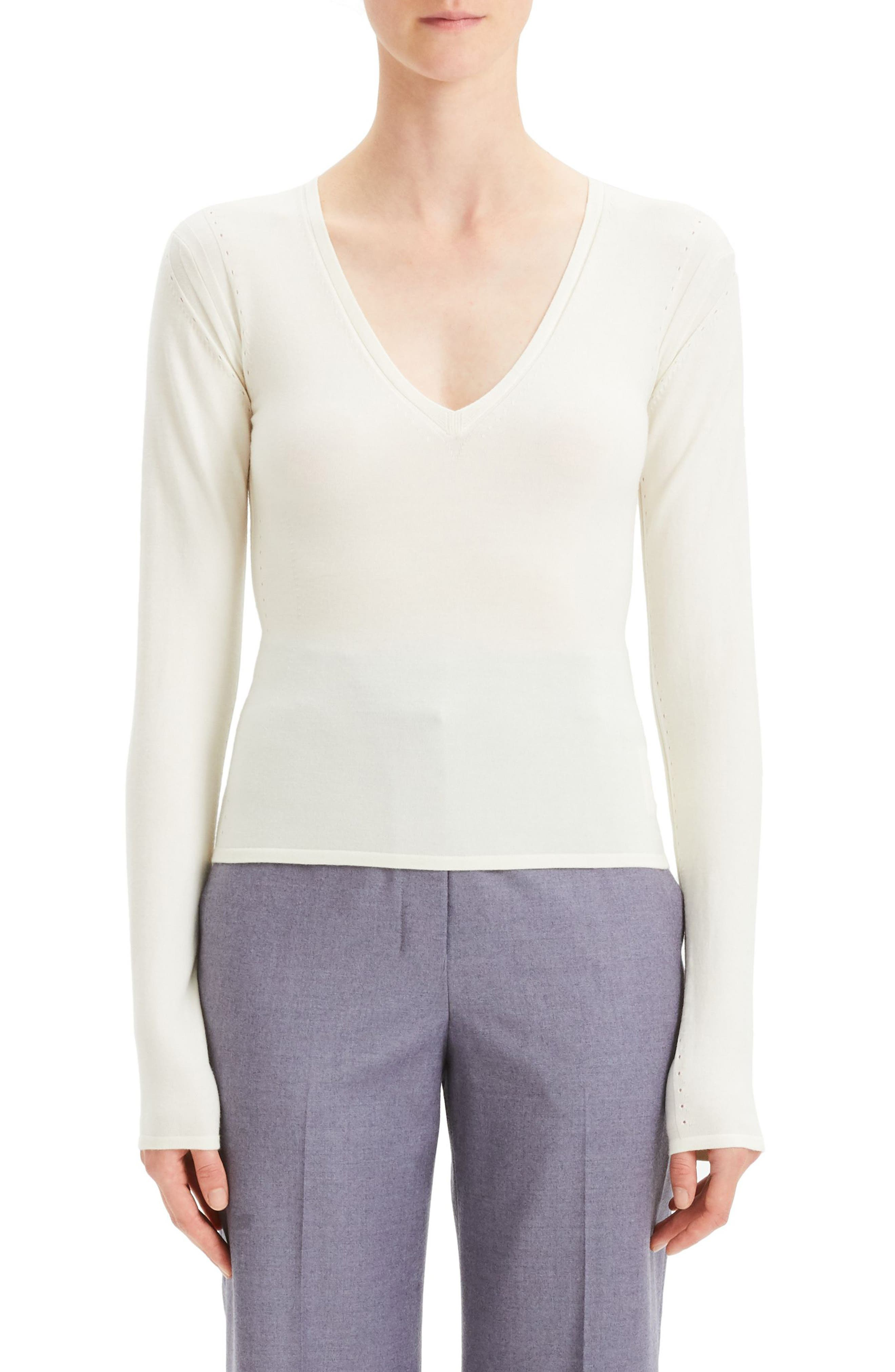 Refine V-Neck Wool Long-Sleeve Pullover Sweater in Ivory