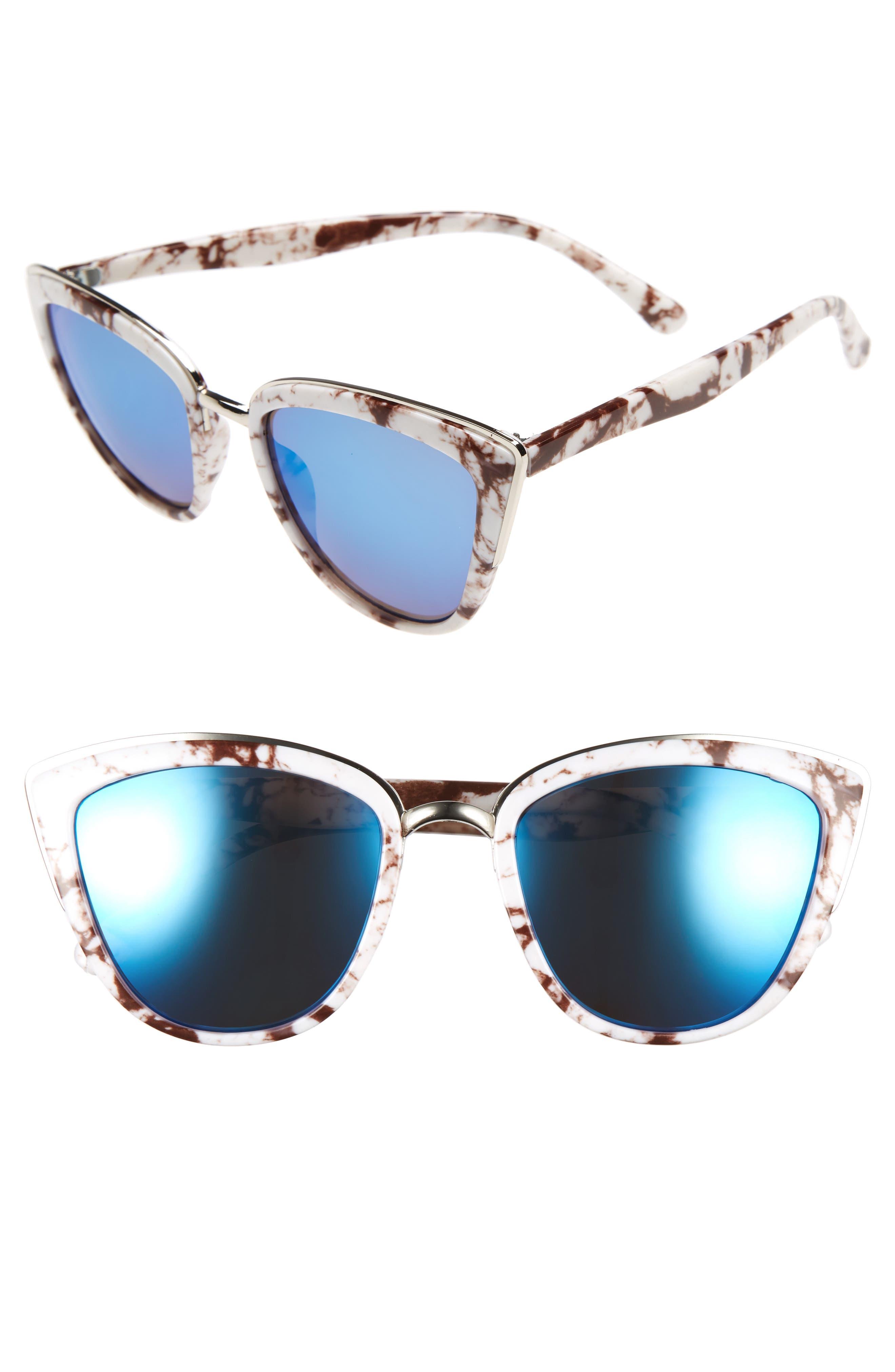 57mm Cat Eye Sunglasses,                             Main thumbnail 1, color,                             100