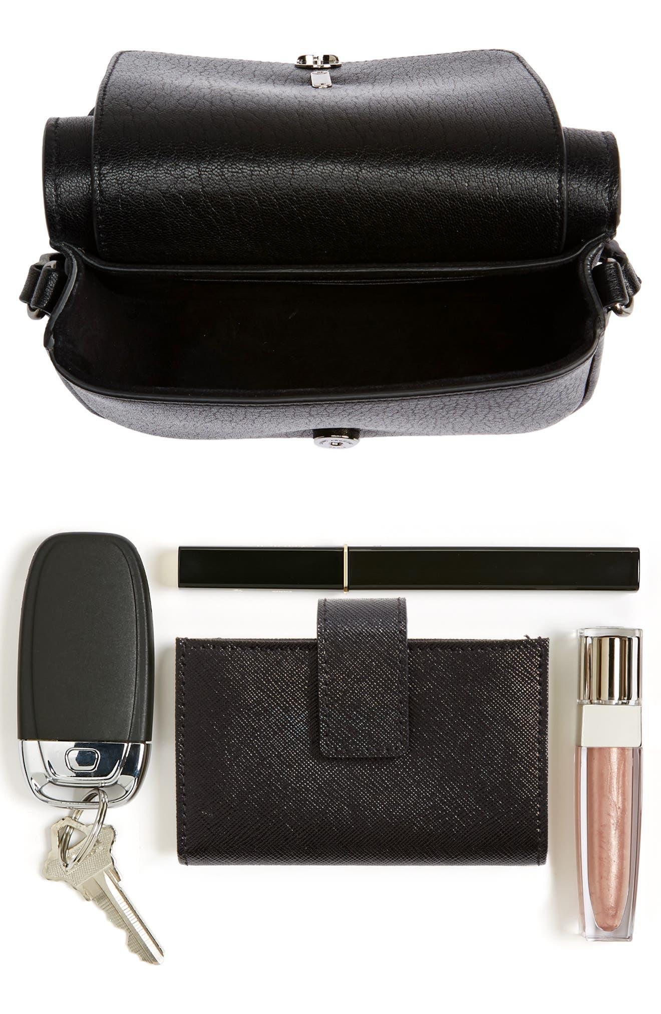 Calfskin Leather Crossbody Bag,                             Alternate thumbnail 7, color,                             001