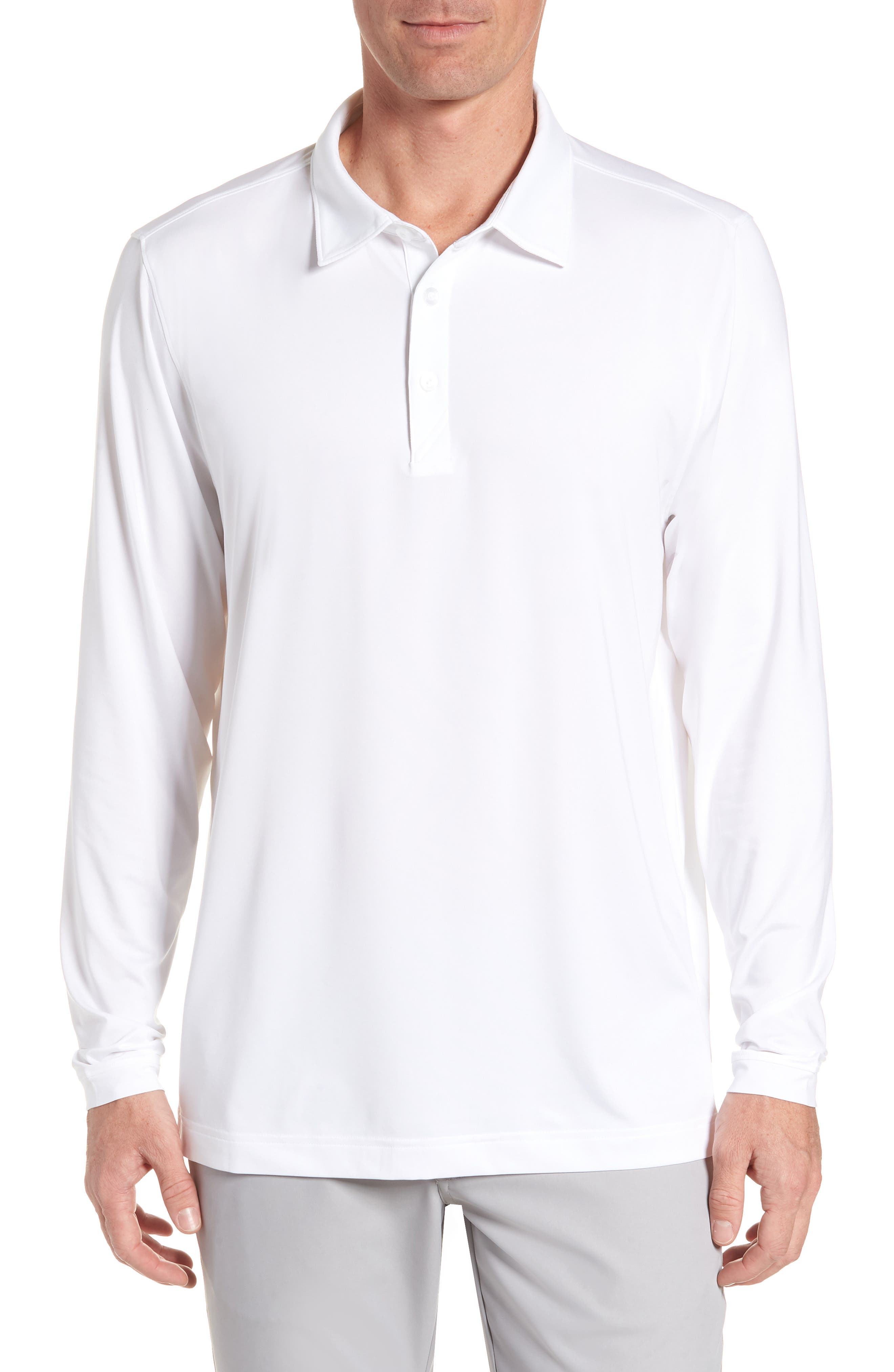 CUTTER & BUCK,                             Belmont Long Sleeve Solid Polo,                             Main thumbnail 1, color,                             100