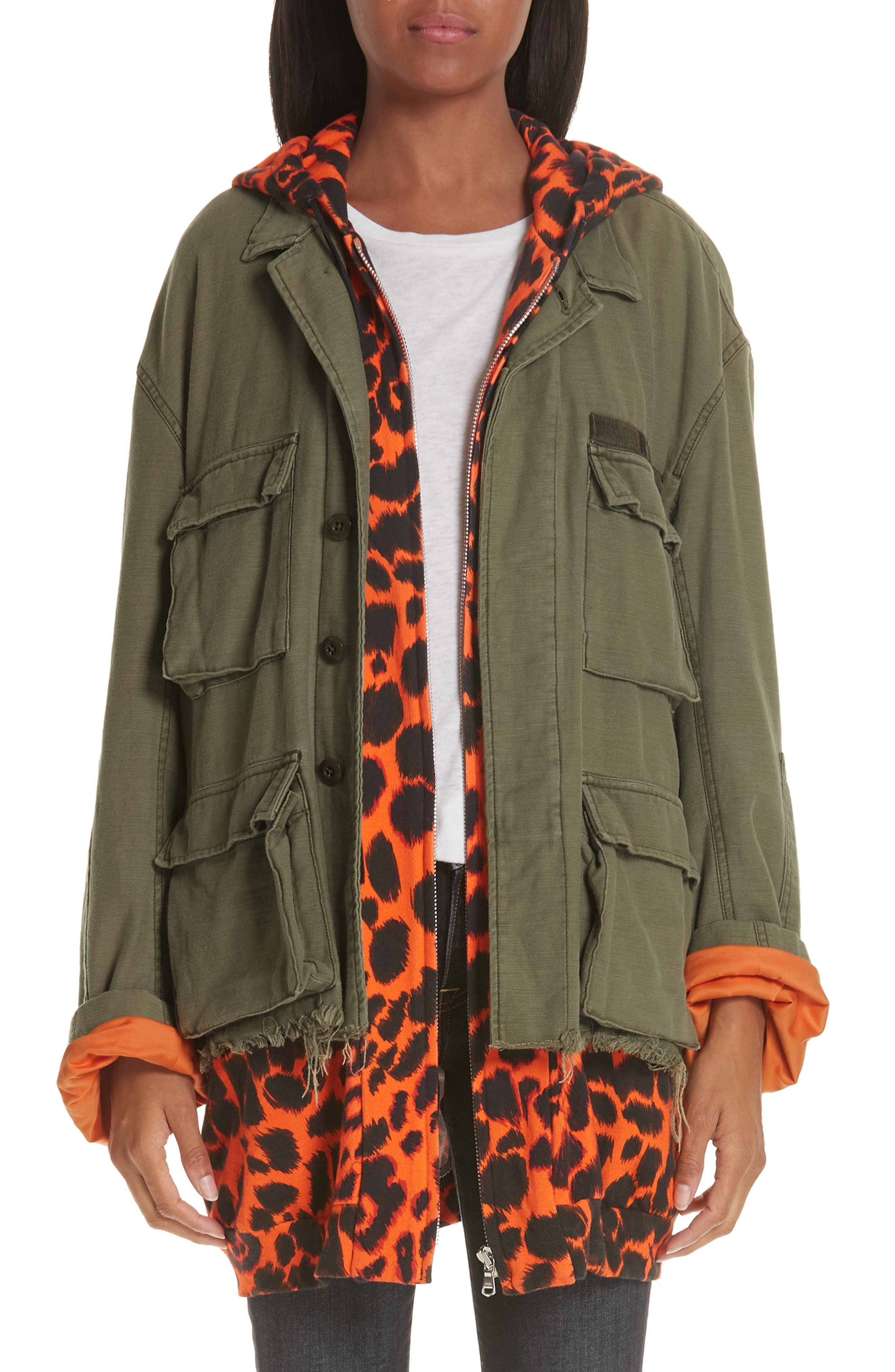 Abu Jacket with Long Leopard Print Hoodie,                             Main thumbnail 1, color,                             OLIVE/ ORANGE