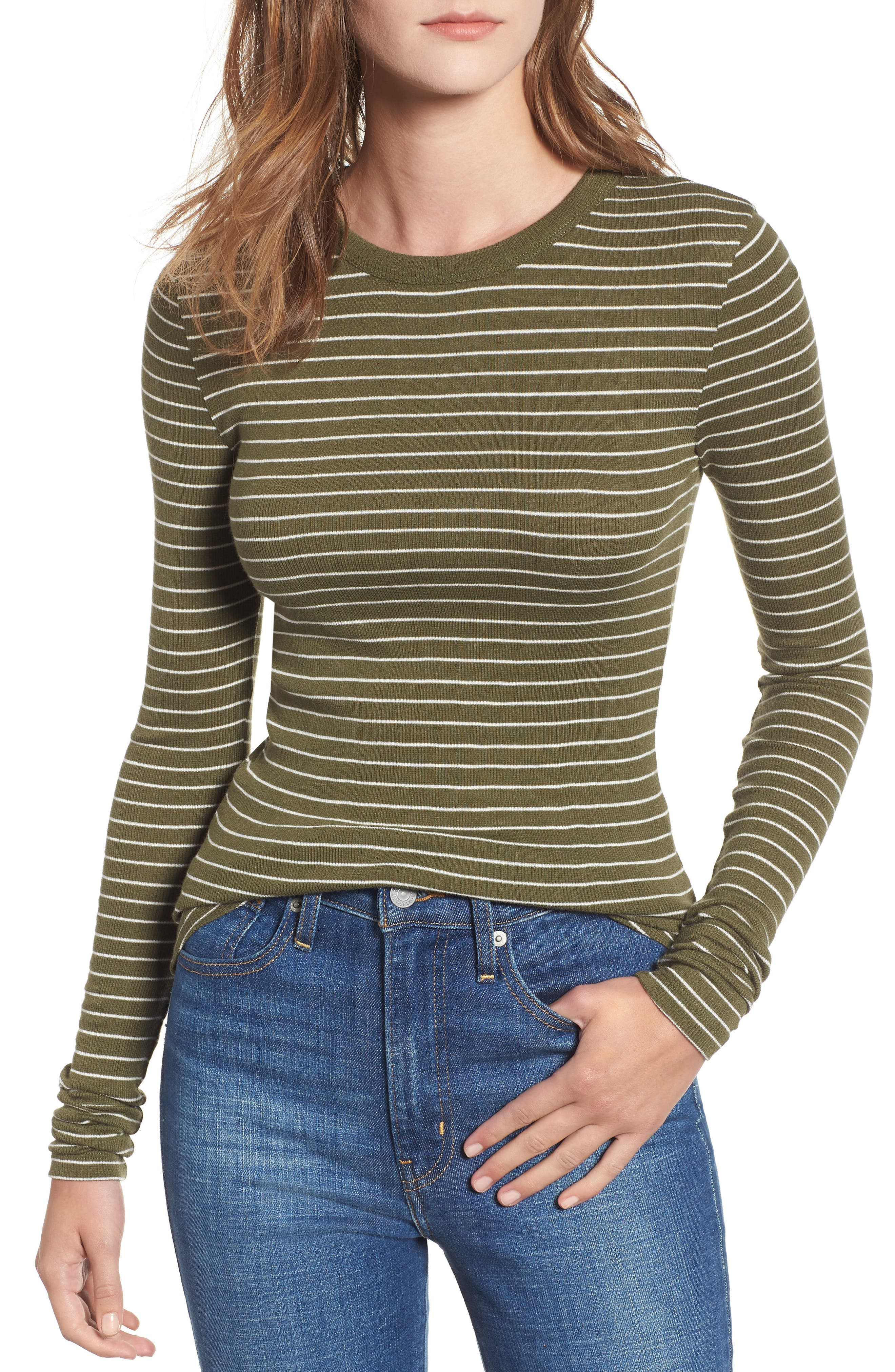 Ribbed Long Sleeve Tee,                             Main thumbnail 1, color,                             OLIVE BURNT TARYN STRIPE