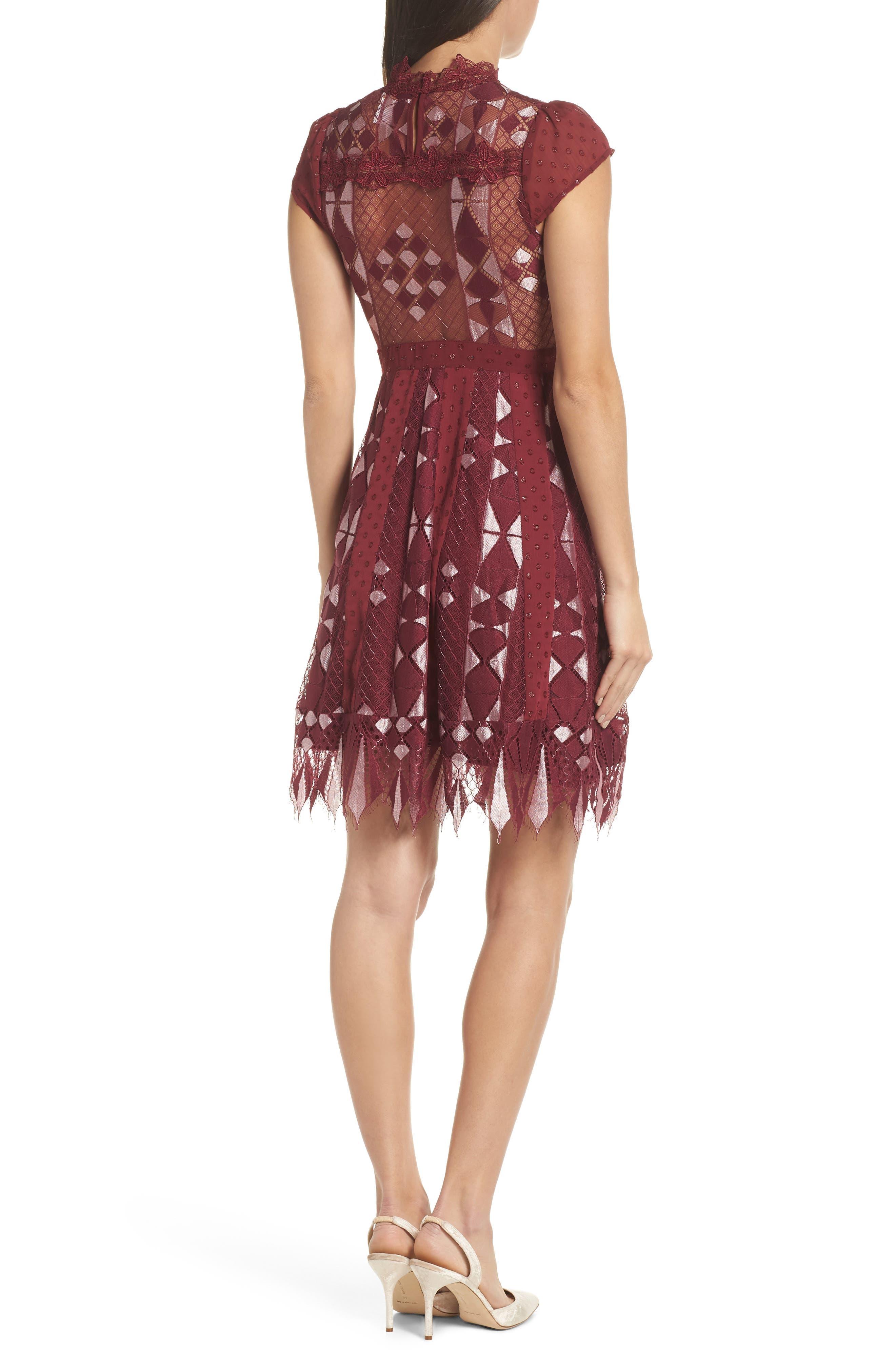 Bravo Zulu Fit & Flare Dress,                             Alternate thumbnail 2, color,                             WINE METALLIC