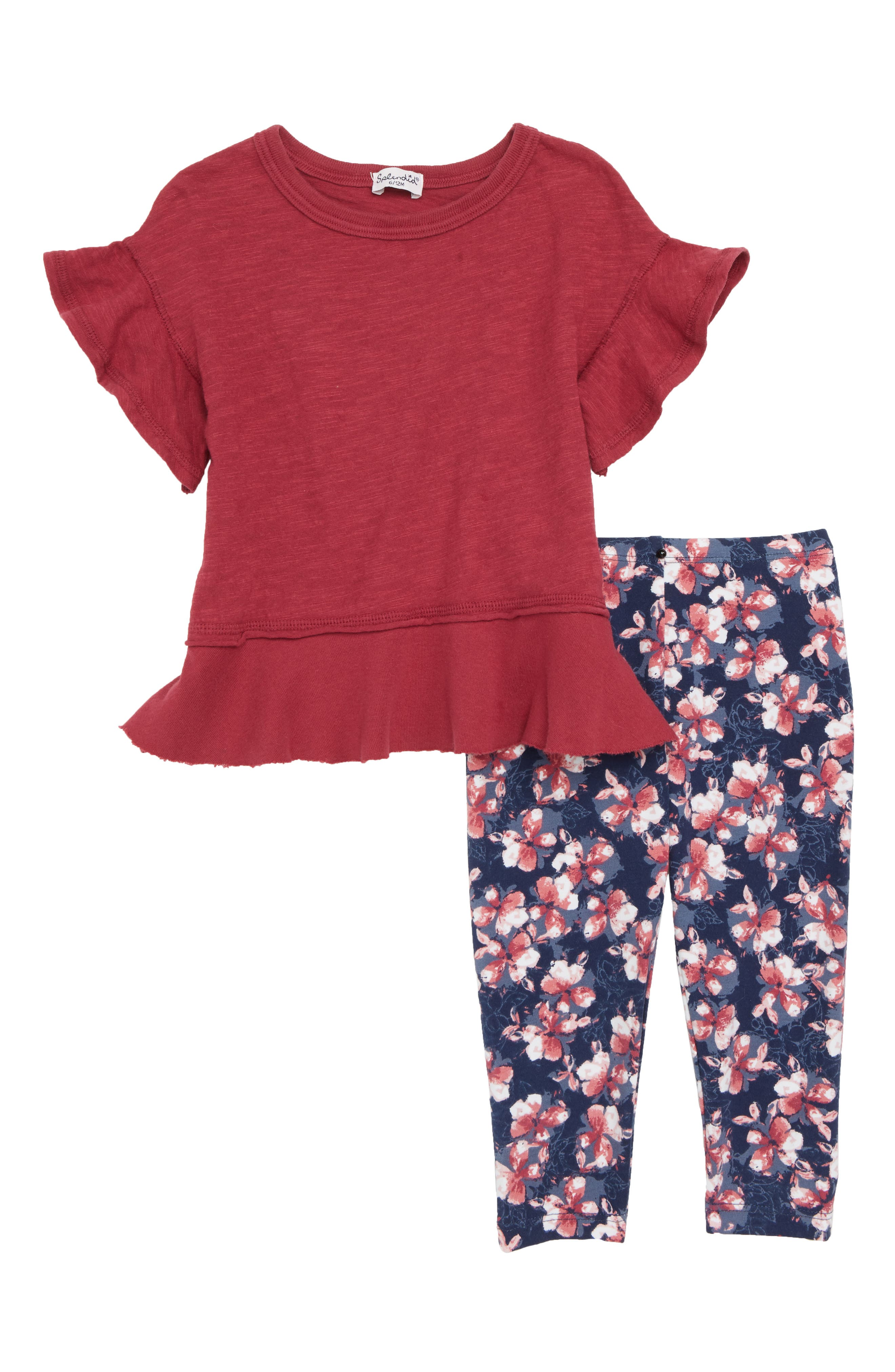 Flounce Tee & Leggings Set,                         Main,                         color, ROSE THICKET