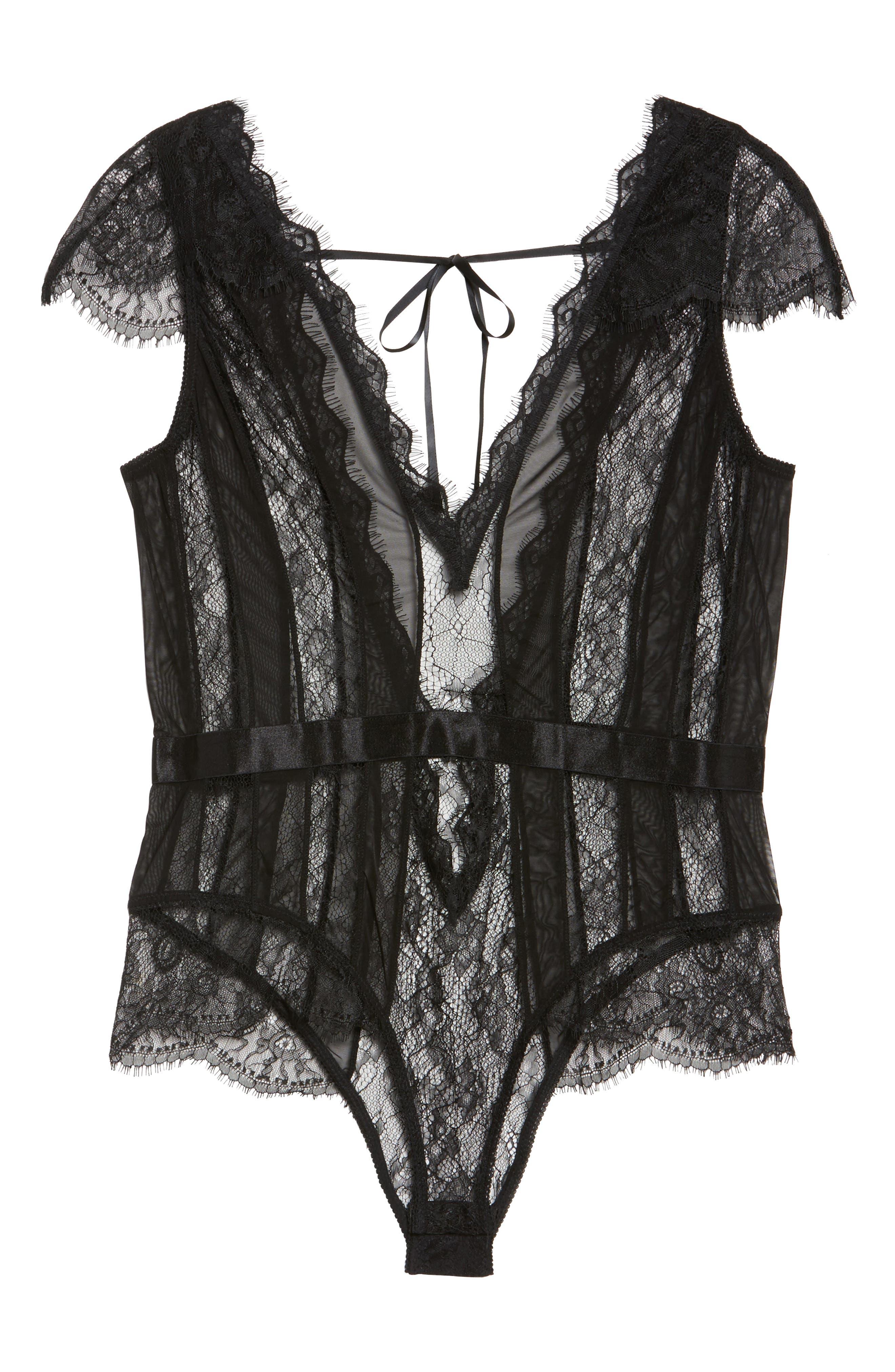 Charlette Stripe Plunge Bodysuit,                             Alternate thumbnail 6, color,                             BLACK