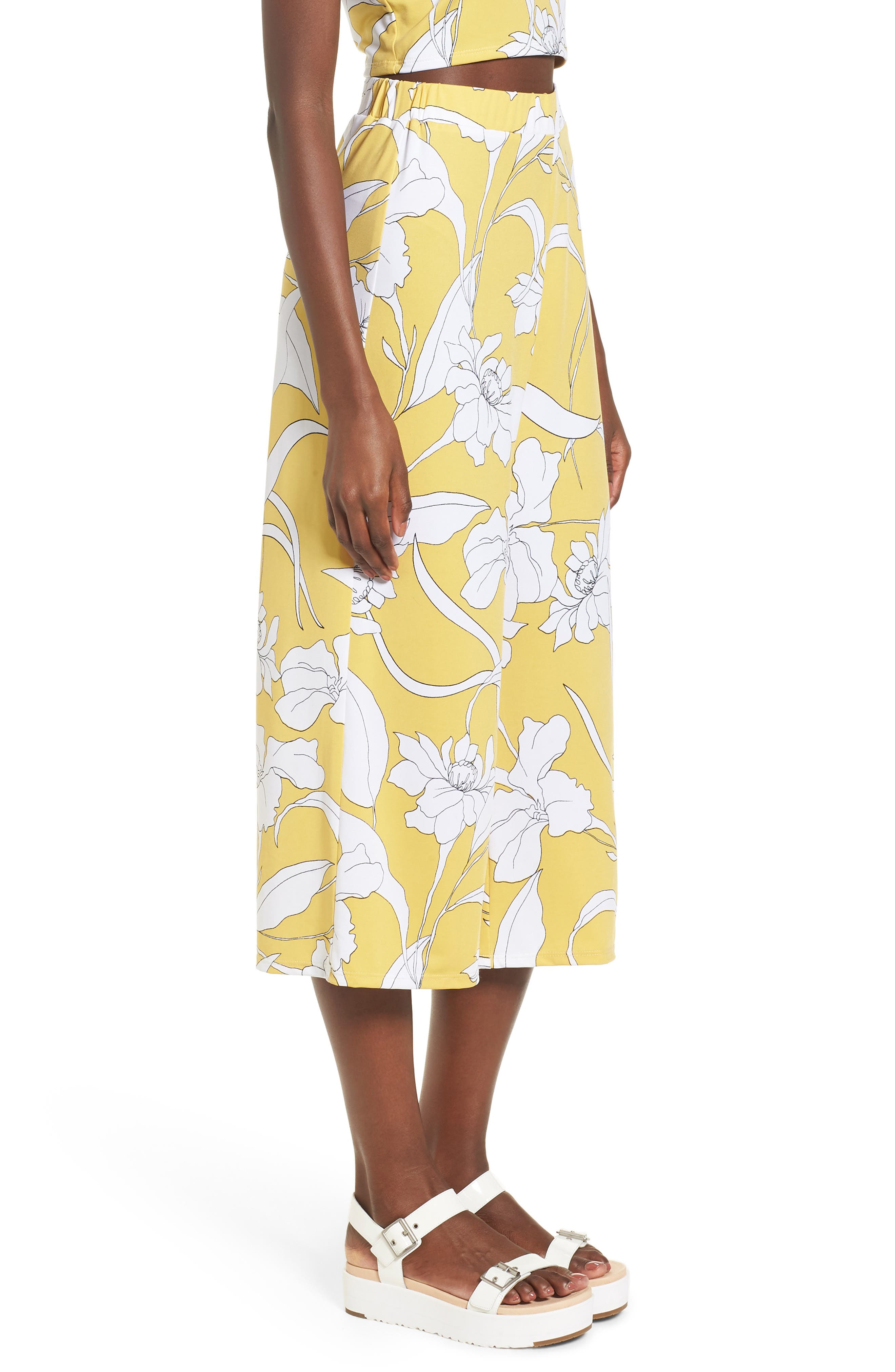 Floral Print Wide Leg Crop Pants,                             Alternate thumbnail 3, color,