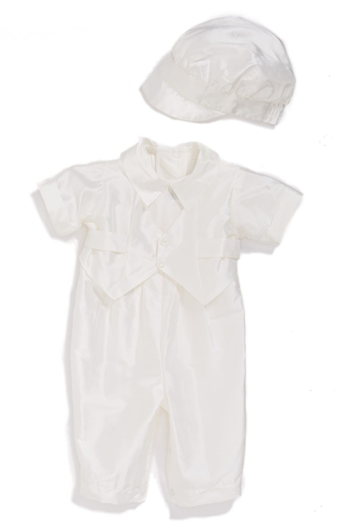 Silk Dupioni Romper and Hat Set,                             Main thumbnail 1, color,                             WHITE