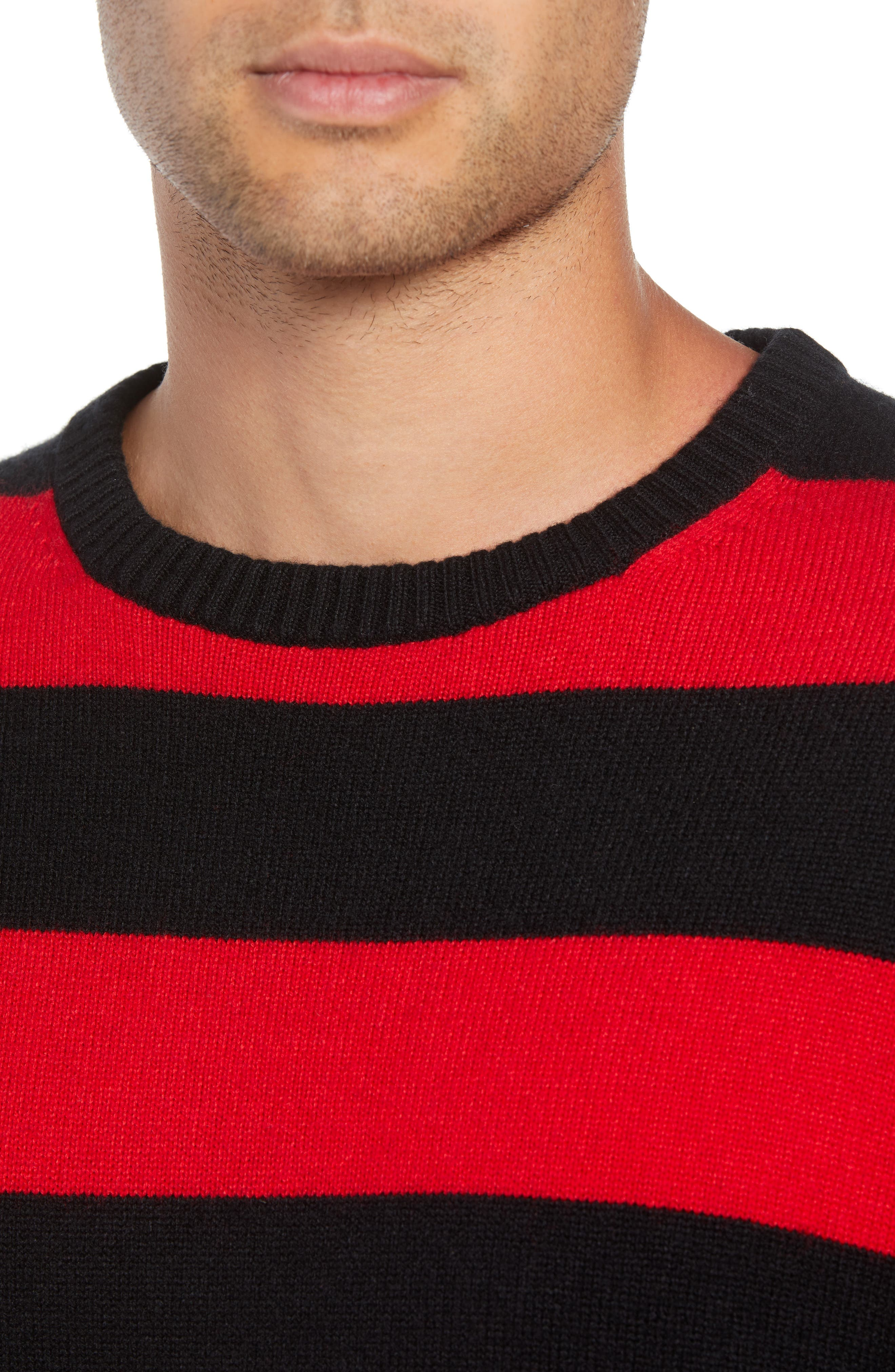Shredded Stripe Sweater,                             Alternate thumbnail 4, color,                             RED/ BLACK