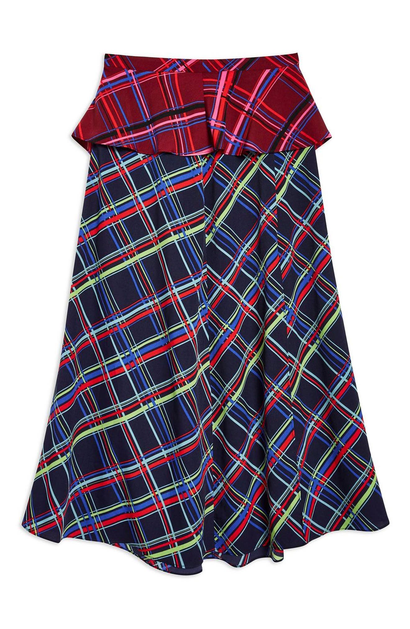 Clan Clash Check Midi Skirt,                             Alternate thumbnail 4, color,                             NAVY BLUE