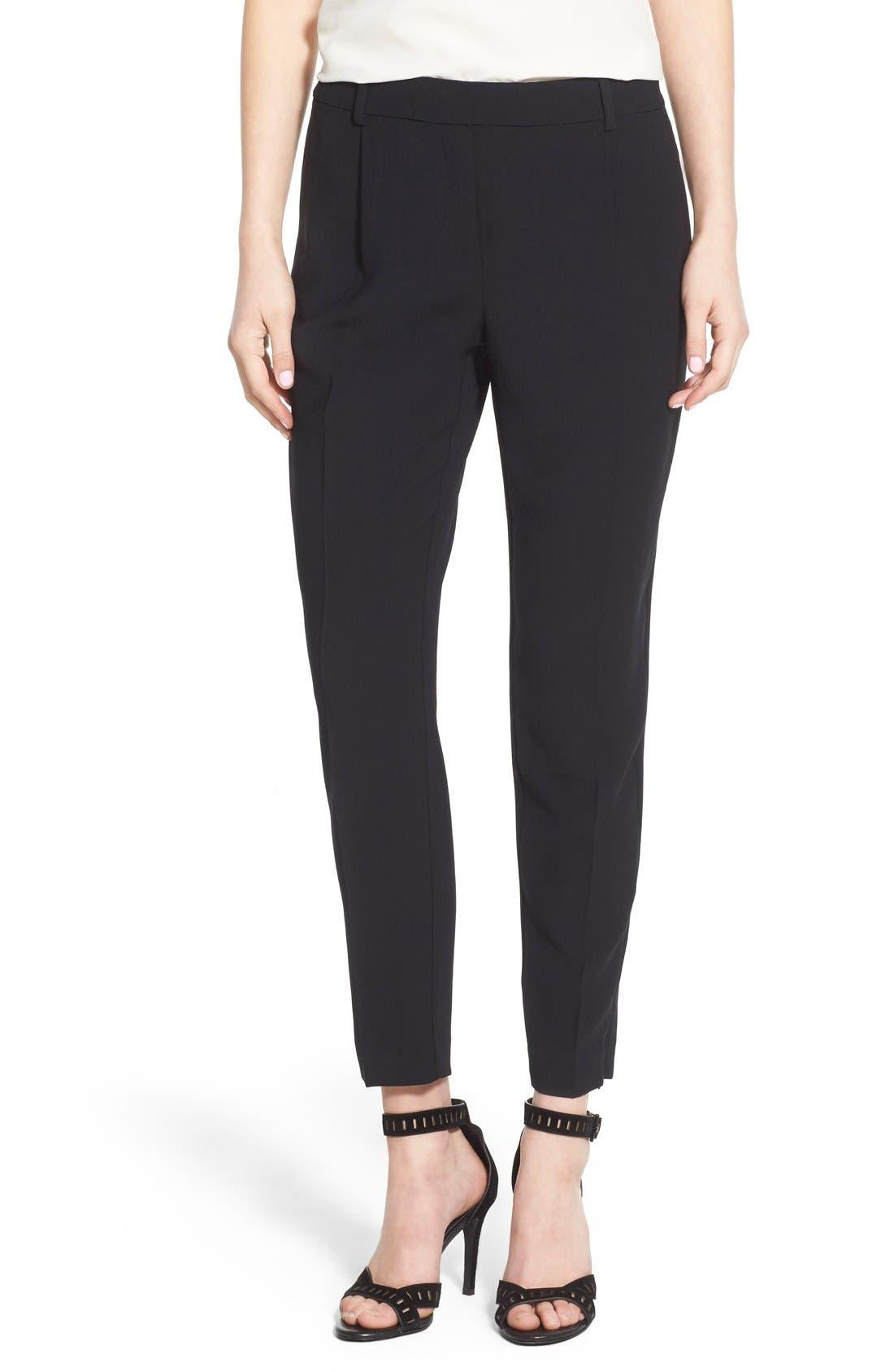 High Waist Pleat Front Crop Pants,                         Main,                         color,