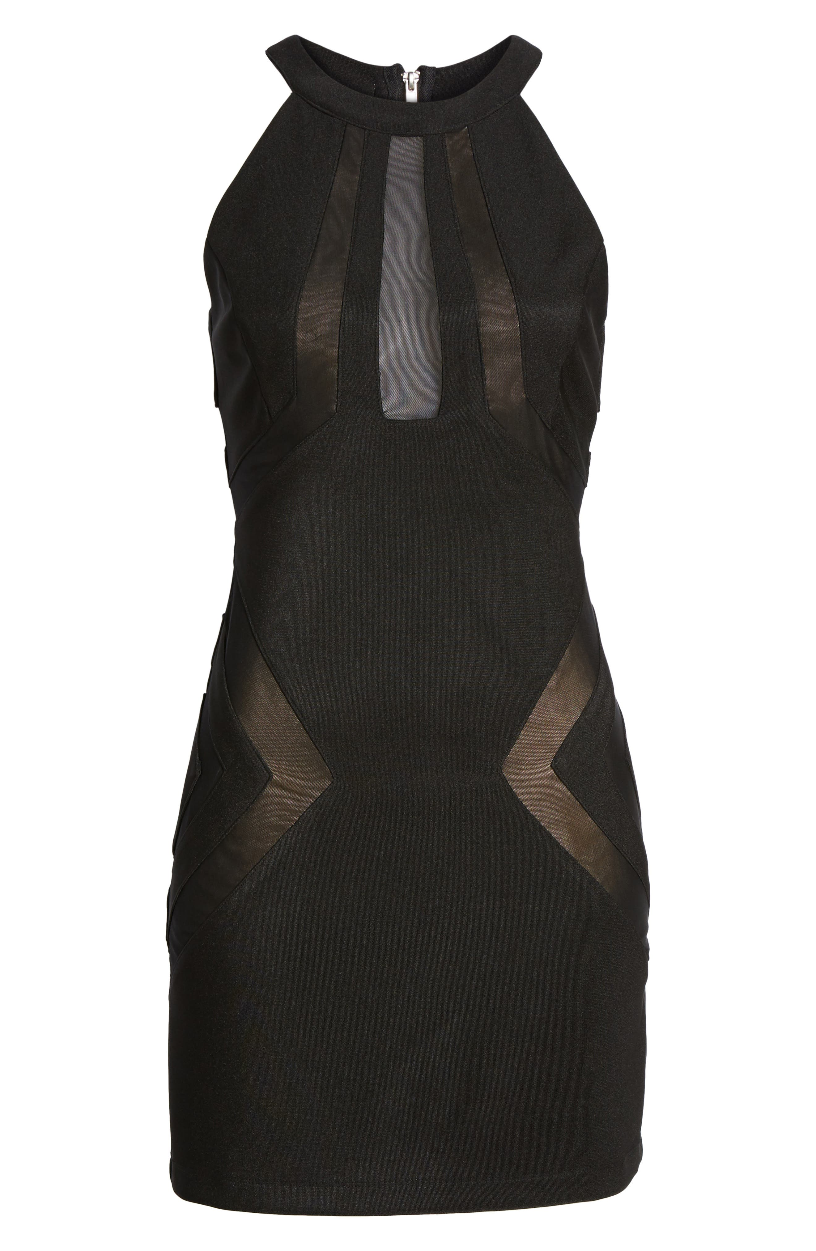 Love Nickie Lew Mesh Inset Body Con Dress,                             Alternate thumbnail 6, color,                             001