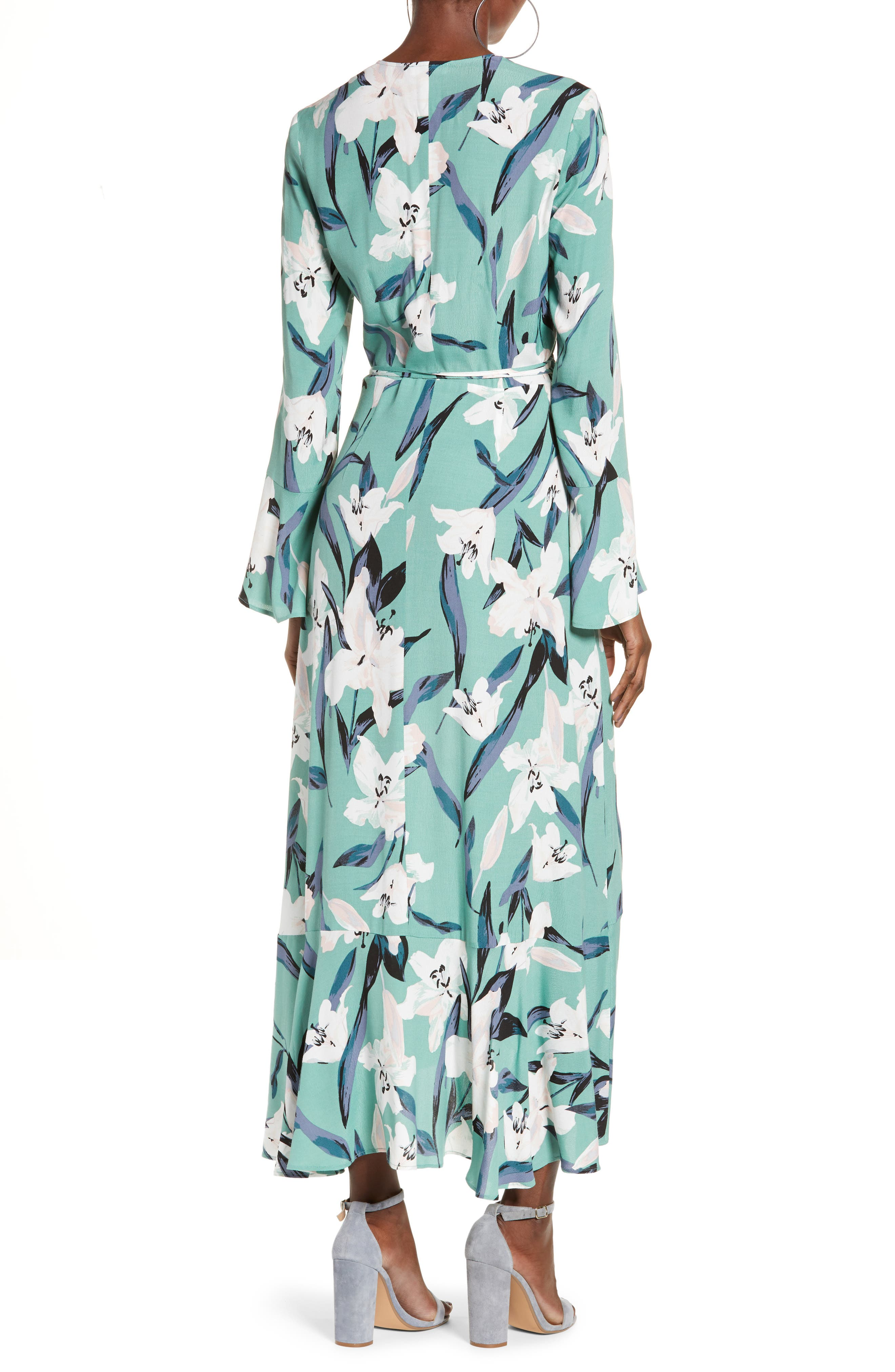 LEITH,                             Bell Sleeve Wrap Midi Dress,                             Alternate thumbnail 2, color,                             GREEN WING ROMANTIC FLR